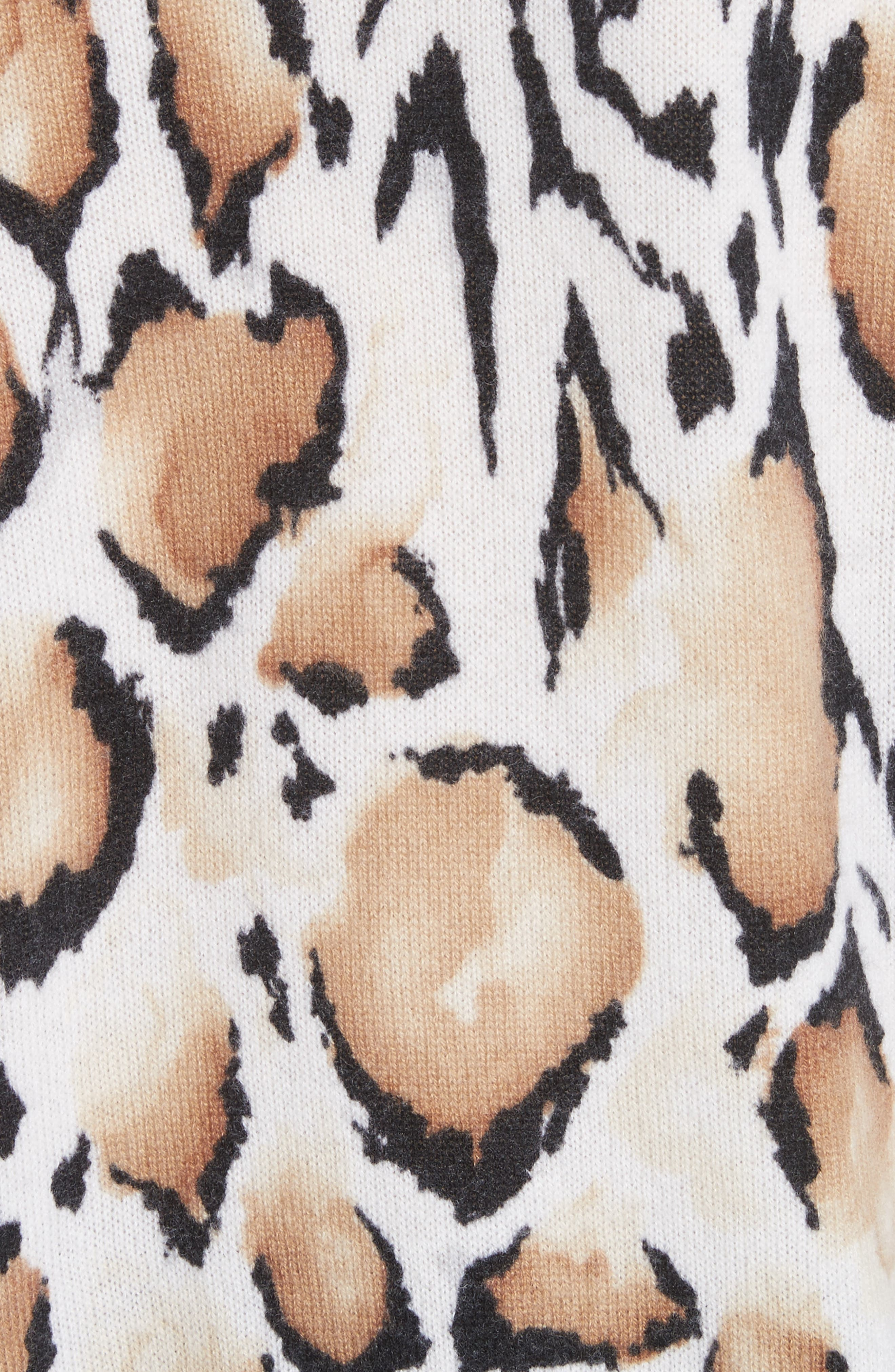 Melanie Clouded Leopard Print Cashmere Sweater,                             Alternate thumbnail 5, color,                             188