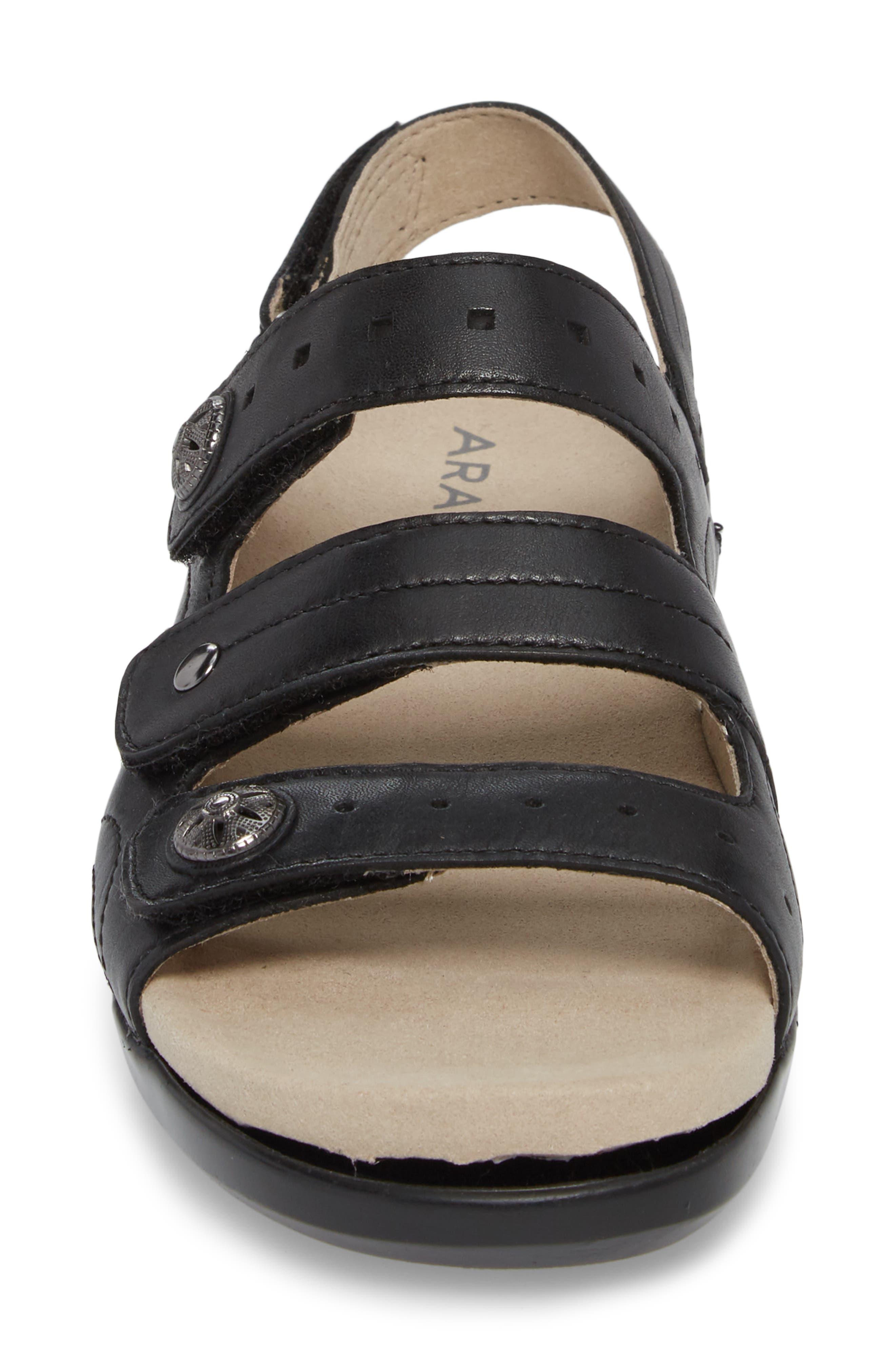 Three Strap Sandal,                             Alternate thumbnail 4, color,                             BLACK LEATHER