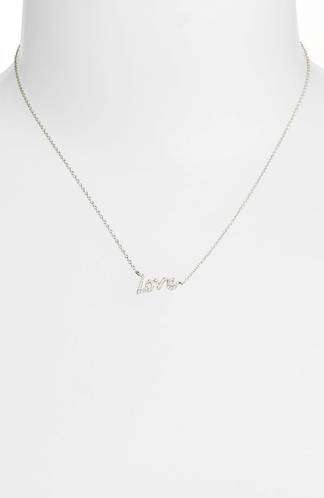 MeiraT Dazzling Diamond Love Pendant Necklace,                             Alternate thumbnail 6, color,                             WHITE GOLD