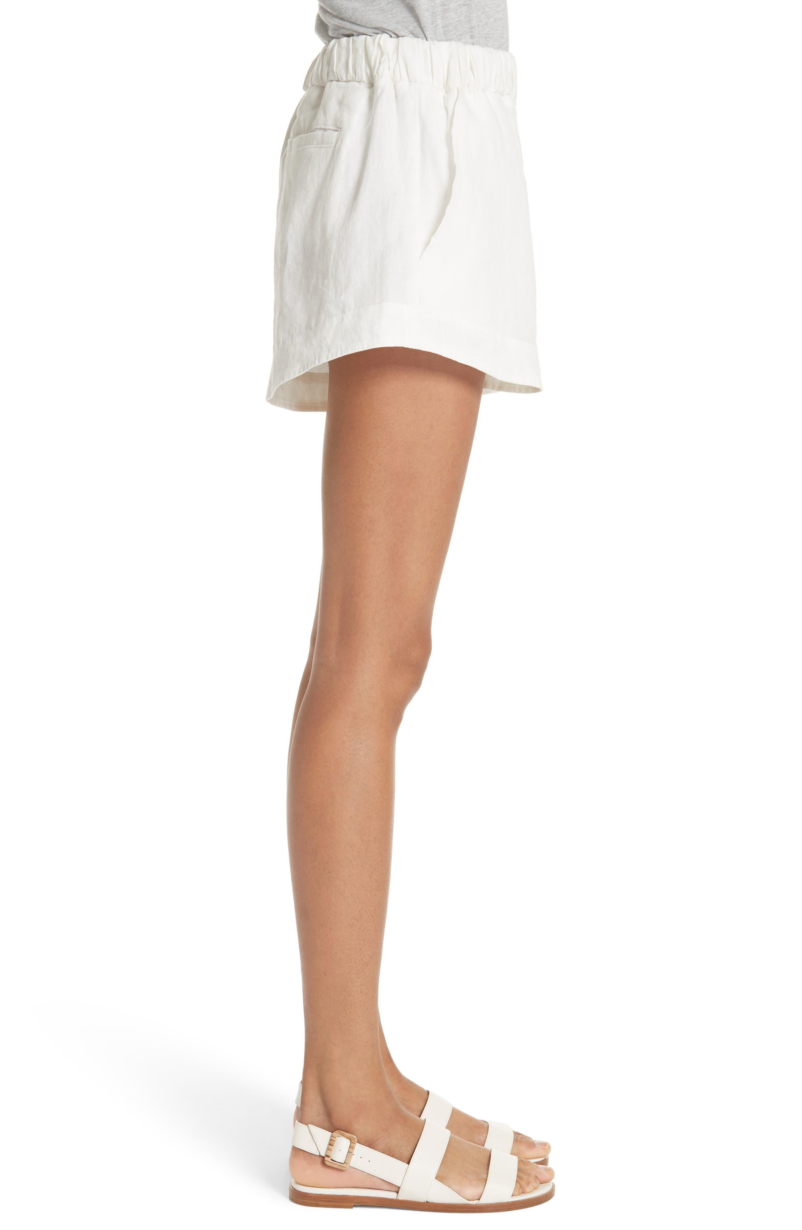 Nyssa Linen Shorts,                             Alternate thumbnail 4, color,                             IVORY