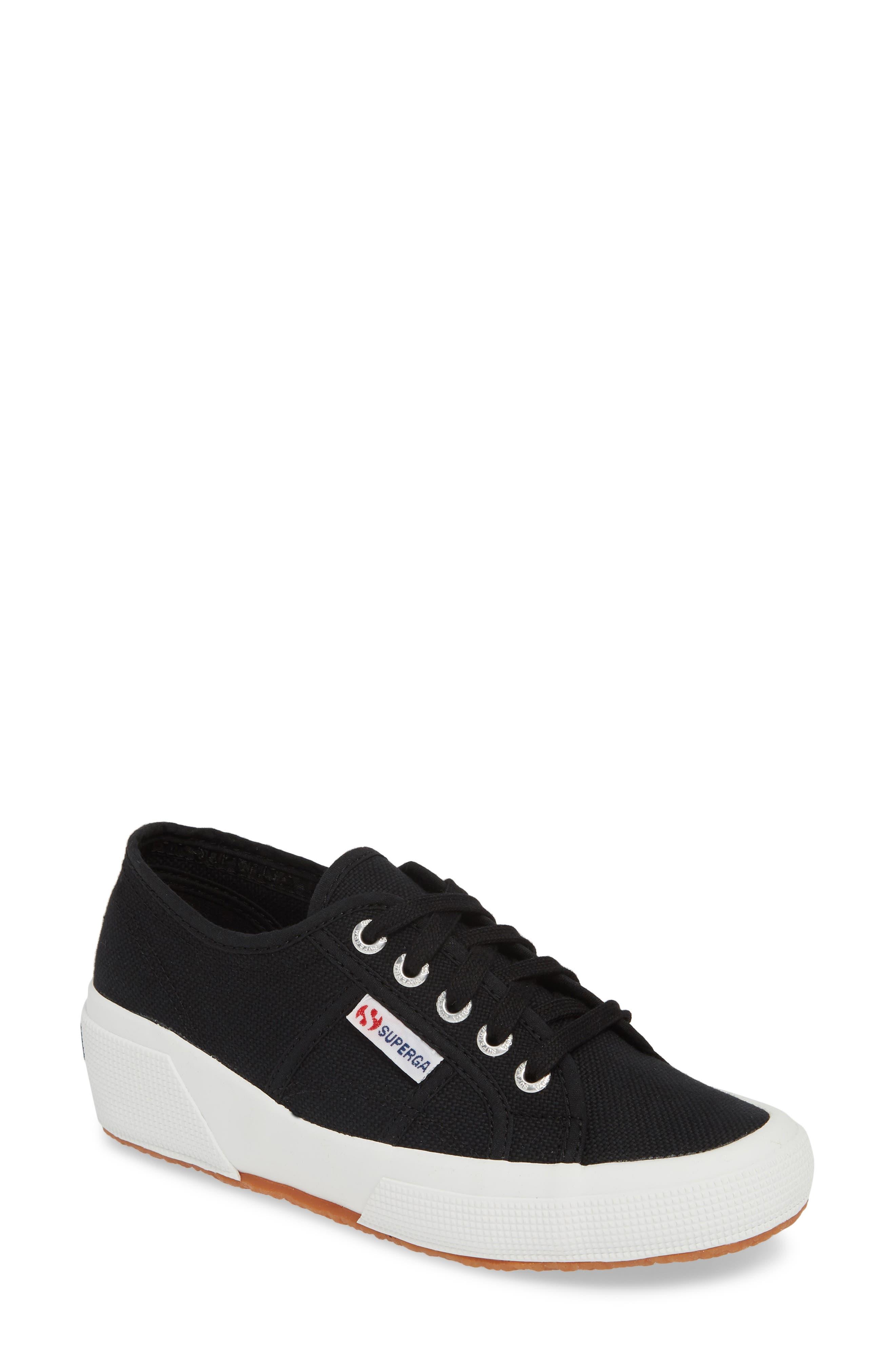 SUPERGA,                             'Linea' Wedge Sneaker,                             Main thumbnail 1, color,                             BLACK / WHITE