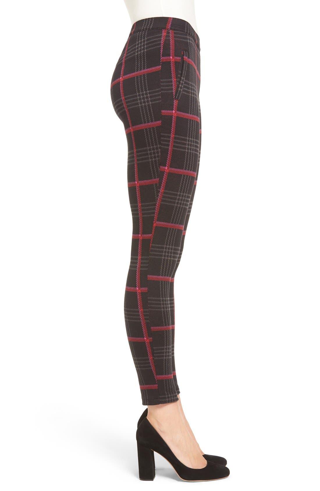 'Glen Plaid' Trouser Leggings,                             Alternate thumbnail 4, color,                             001