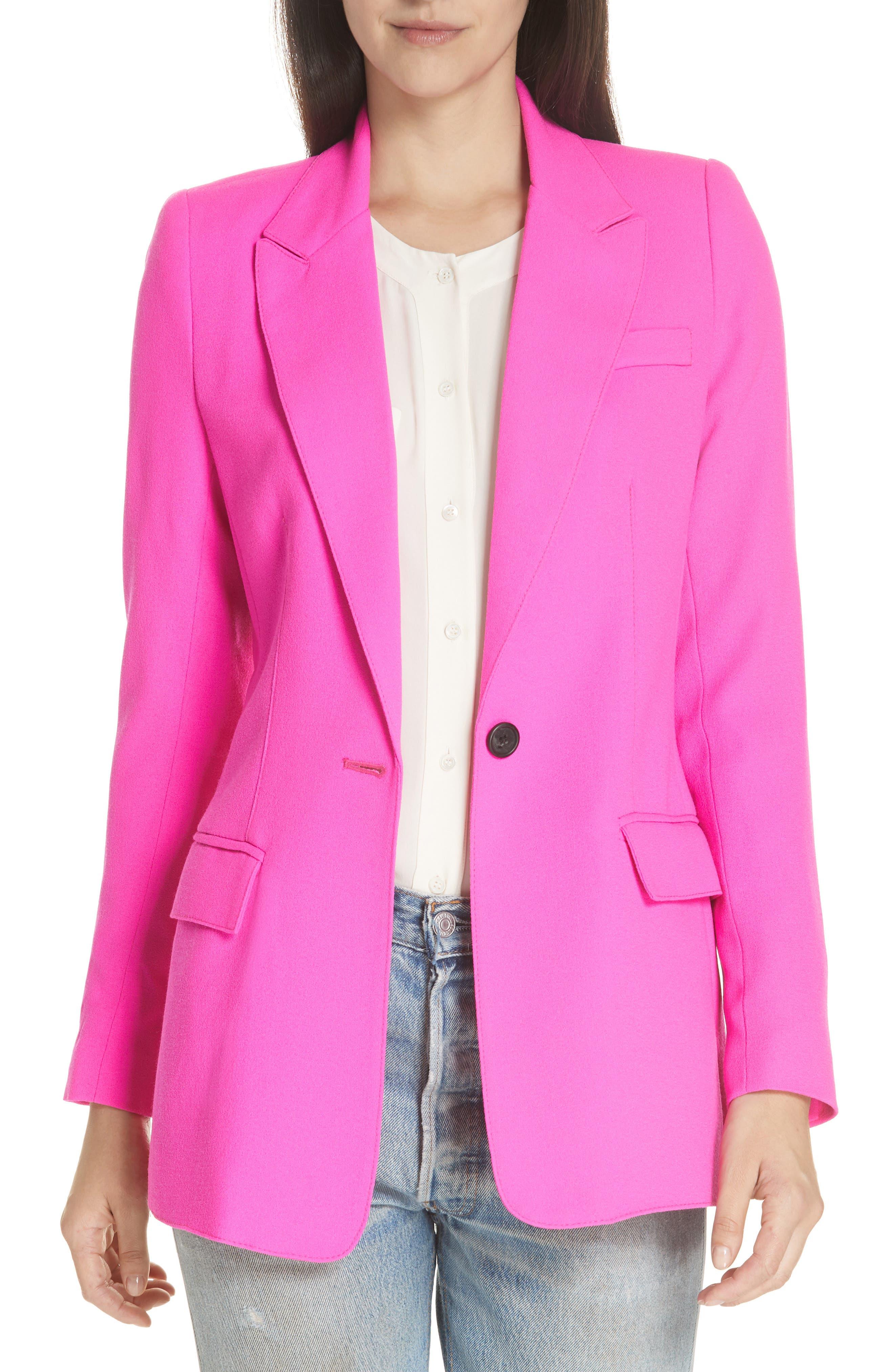 Wool Blazer,                         Main,                         color, NEON PINK
