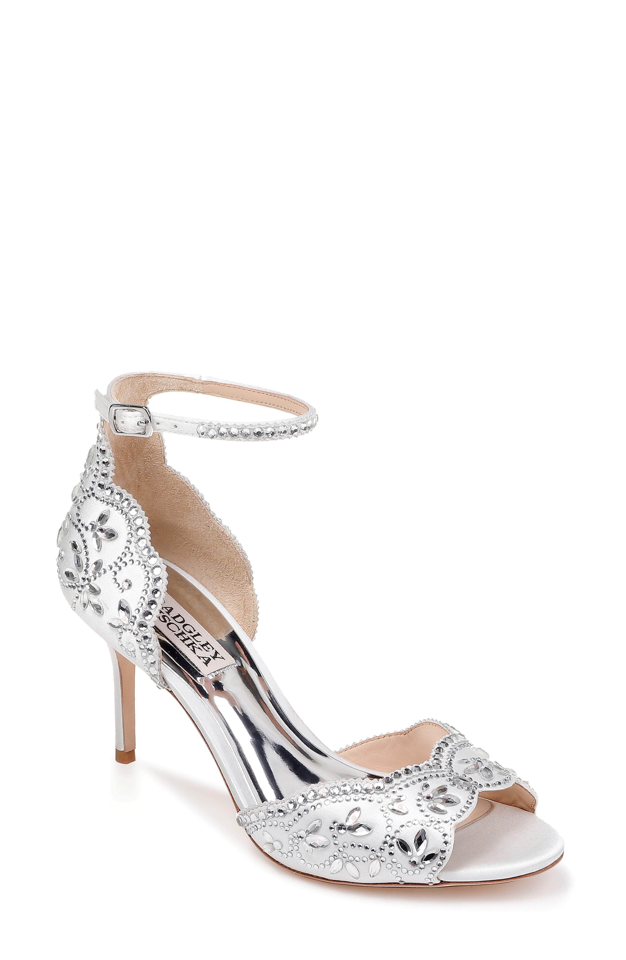 Badgley Mischka Crystal Embellished Sandal, White
