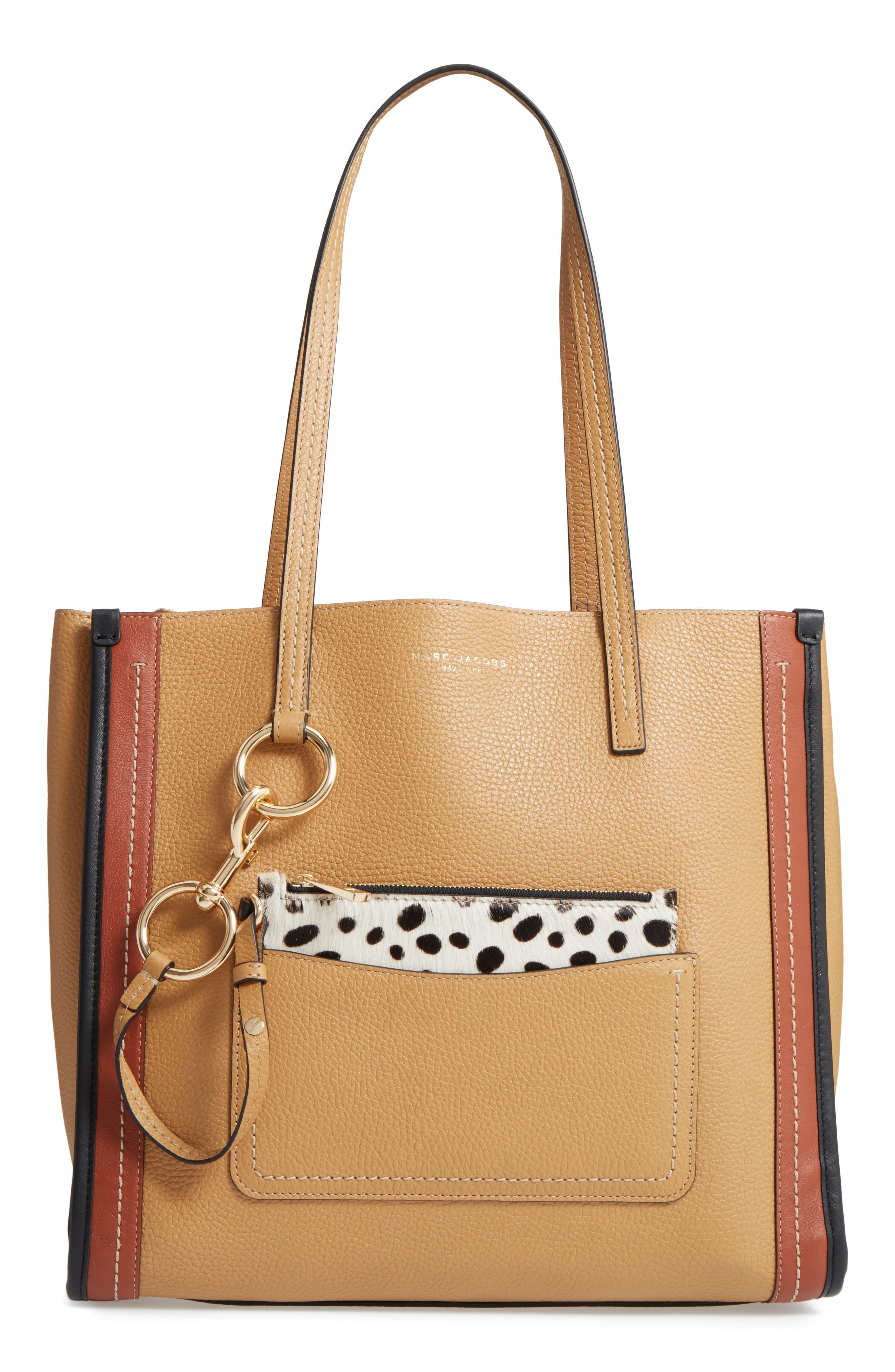 The Dalmatian Grind East/West Leather Shopper & Genuine Calf Hair Pouch,                             Main thumbnail 1, color,                             250
