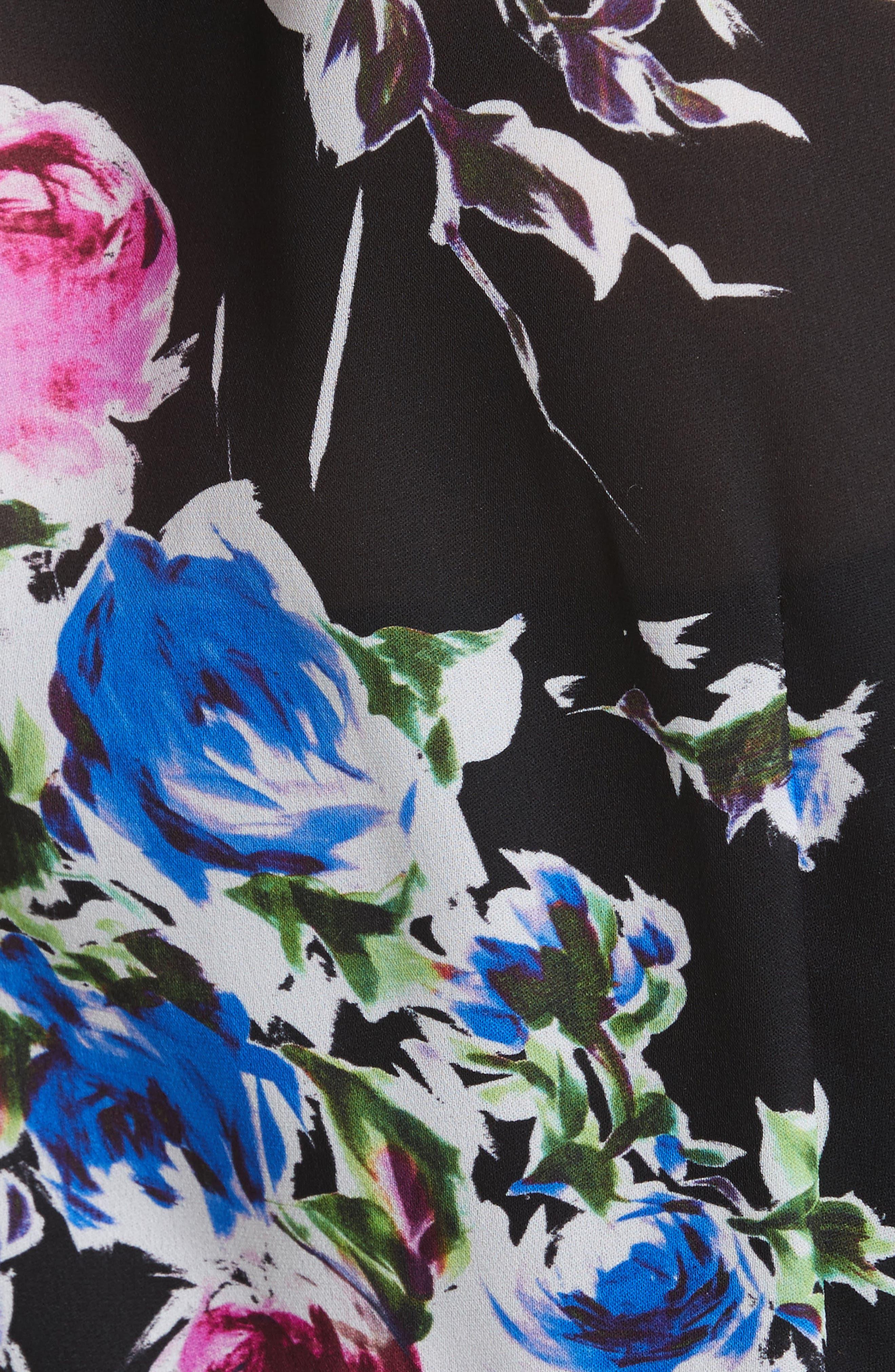 Audrey Floral Silk Wrap Dress,                             Alternate thumbnail 5, color,                             001