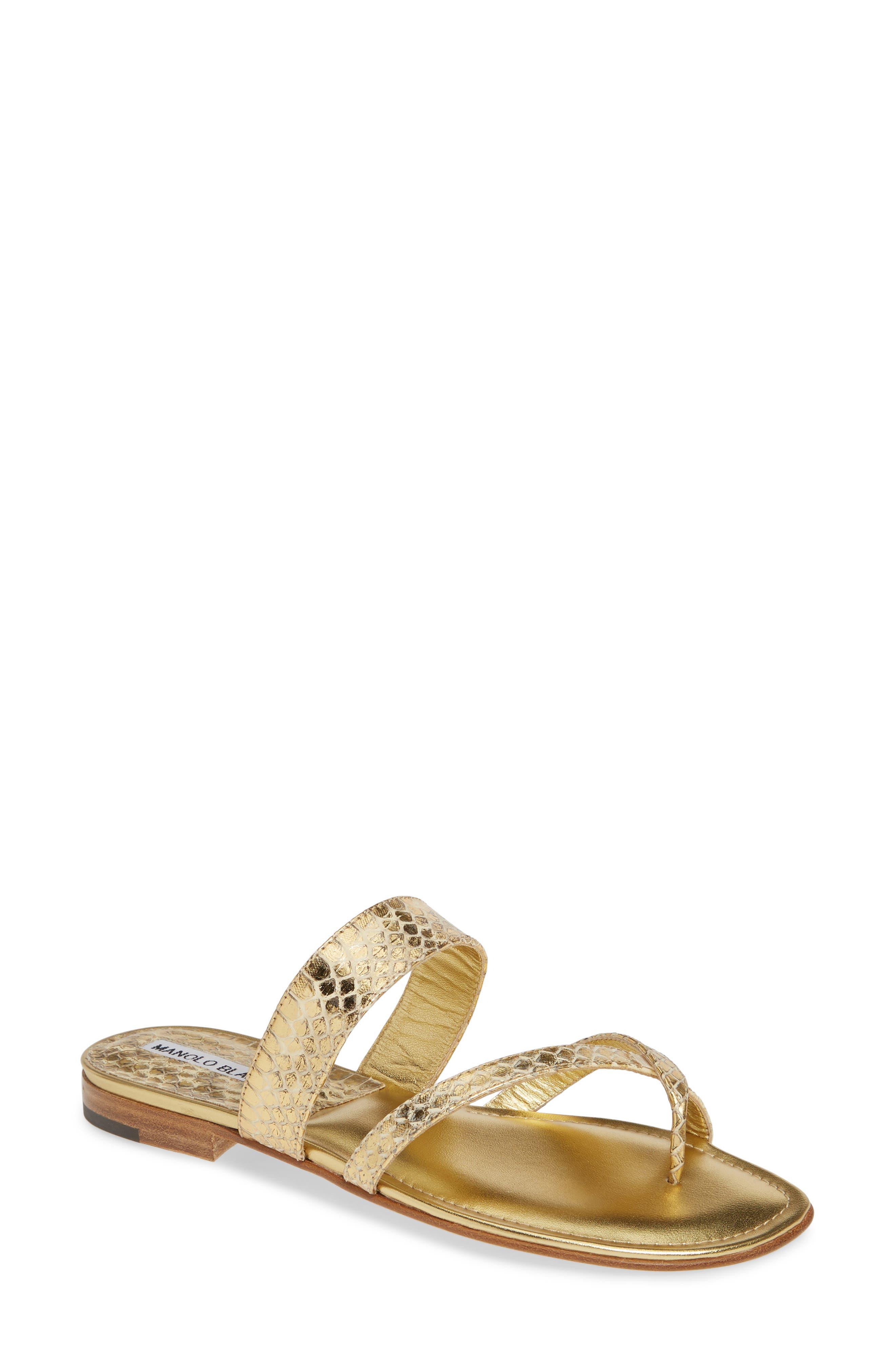 MANOLO BLAHNIK 'Susa' Genuine Snakeskin Sandal, Main, color, GOLD WATERSNAKE
