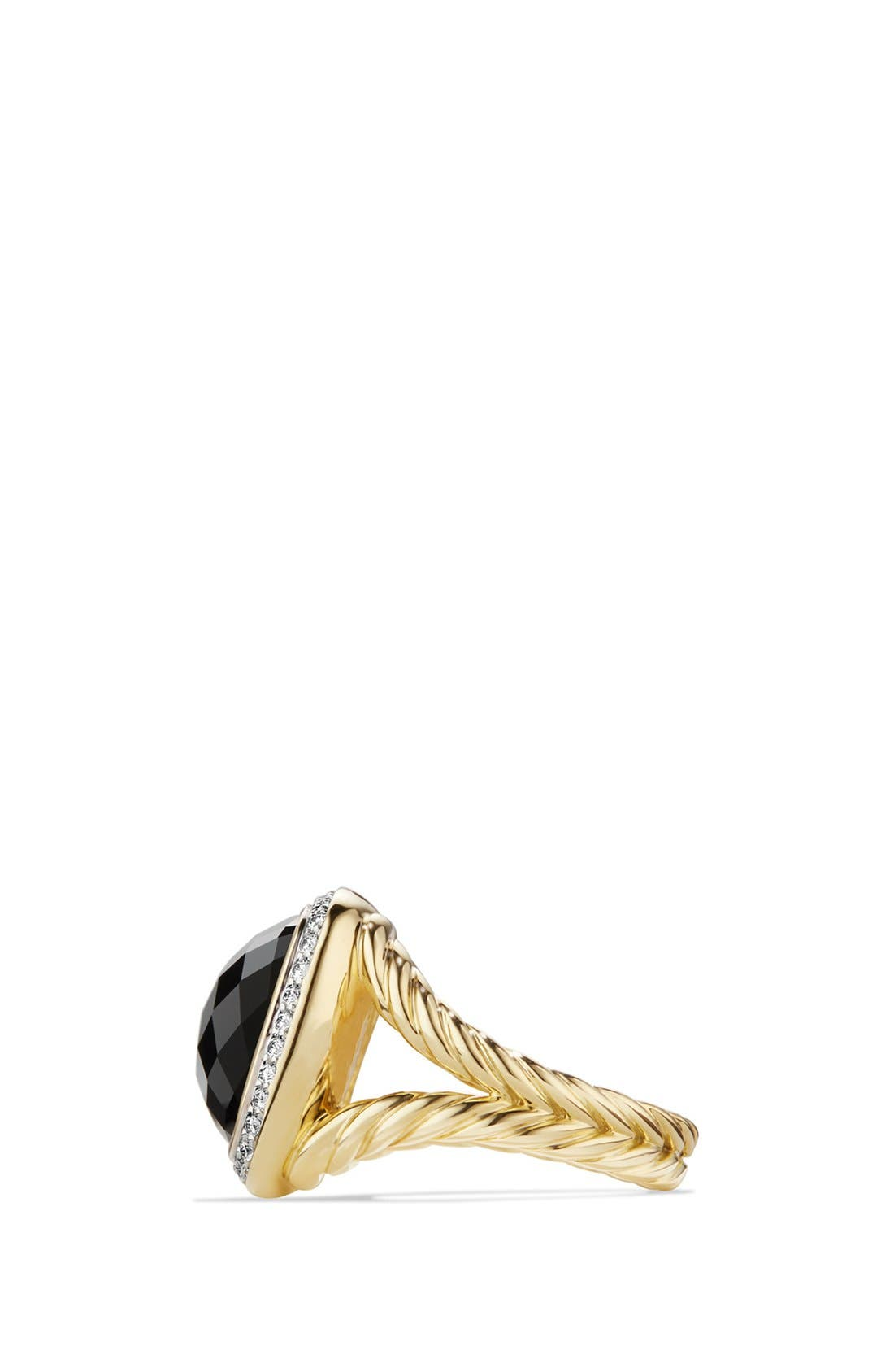 'Albion' Ring with Diamonds in 18k Gold,                             Alternate thumbnail 2, color,                             BLACK ONYX