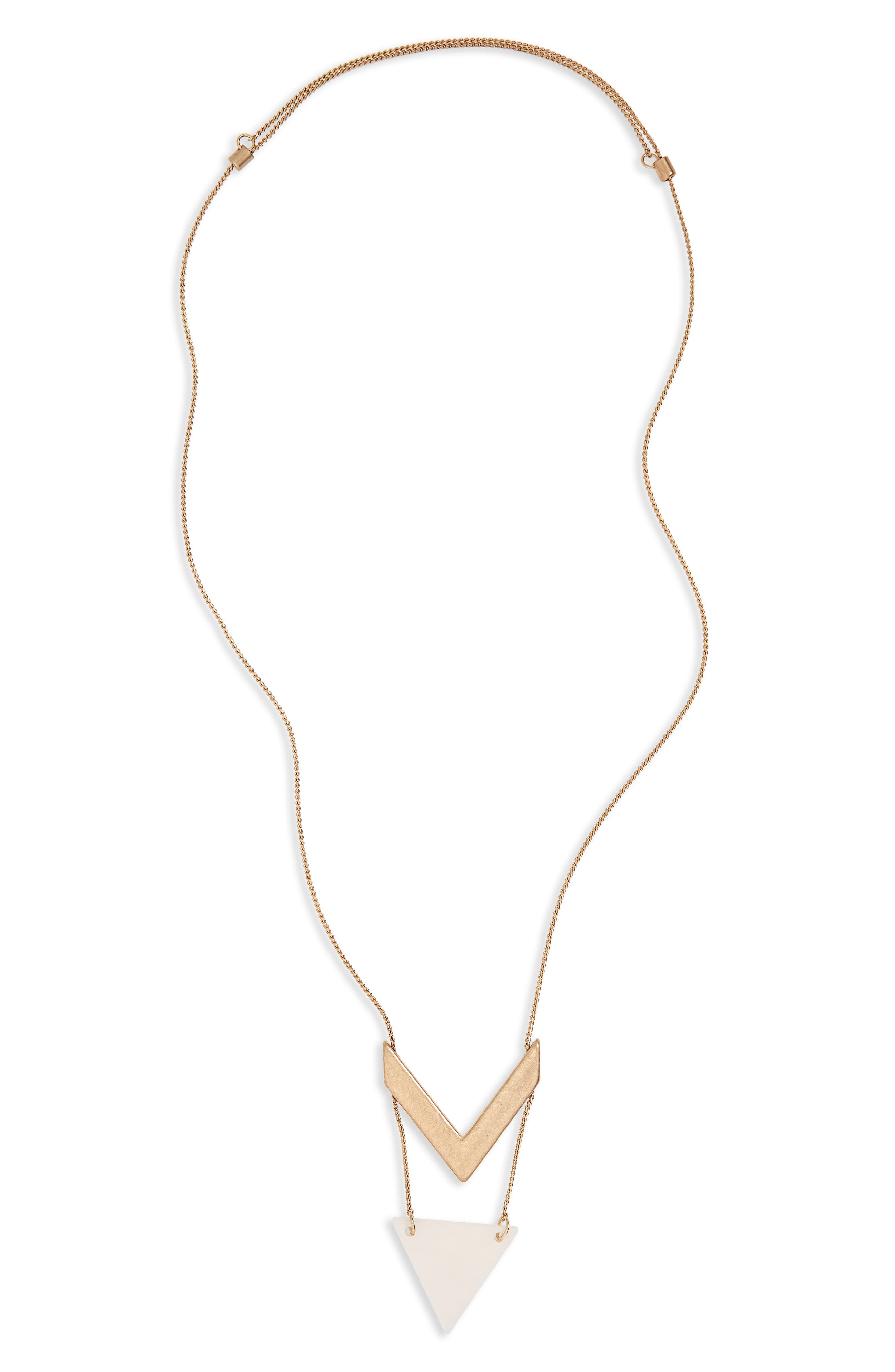 Stone Chevron Pendant Necklace,                             Main thumbnail 3, color,
