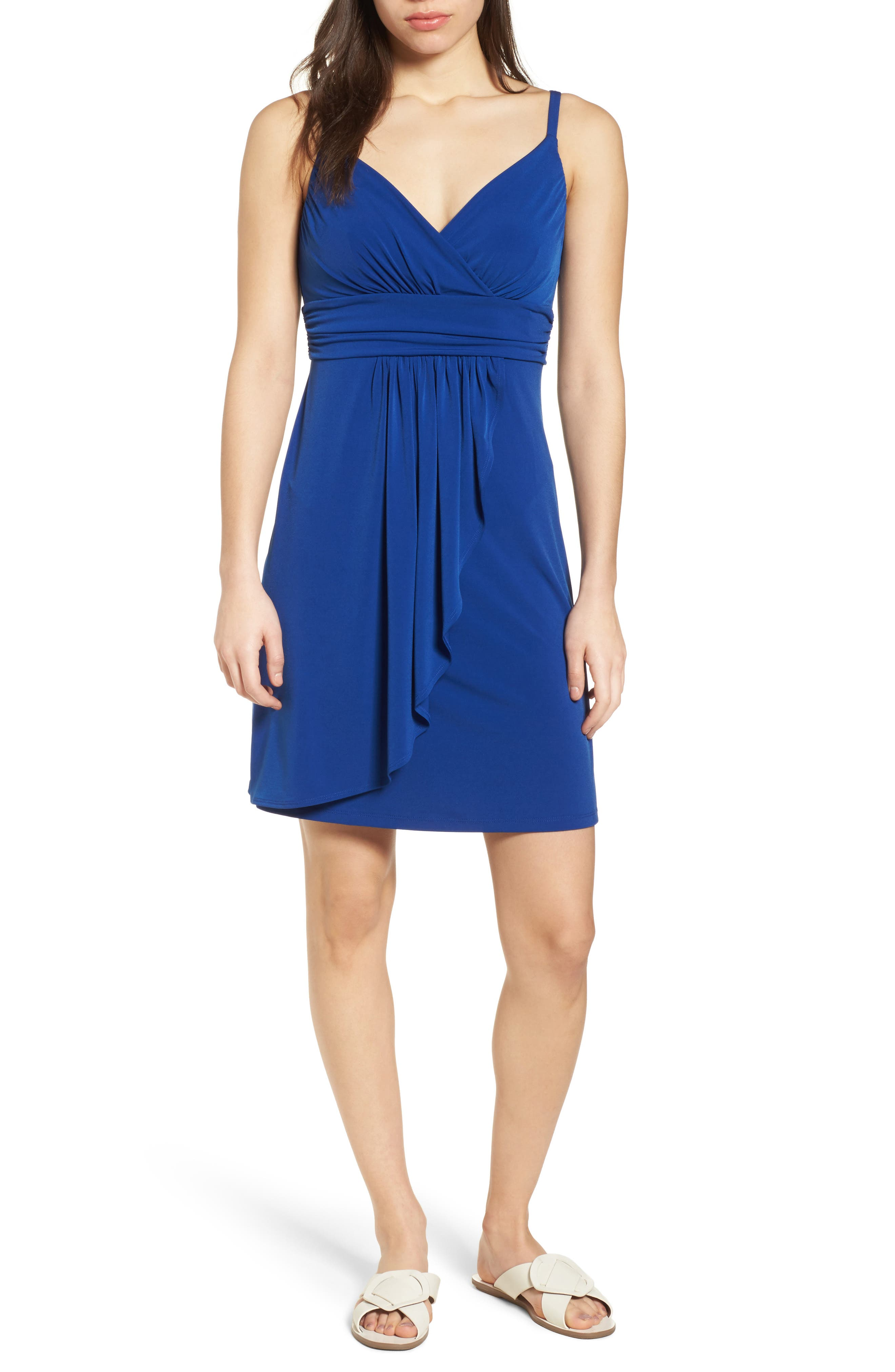 Elenna Stretch Jersey Sundress,                             Main thumbnail 1, color,                             DARK BLUE