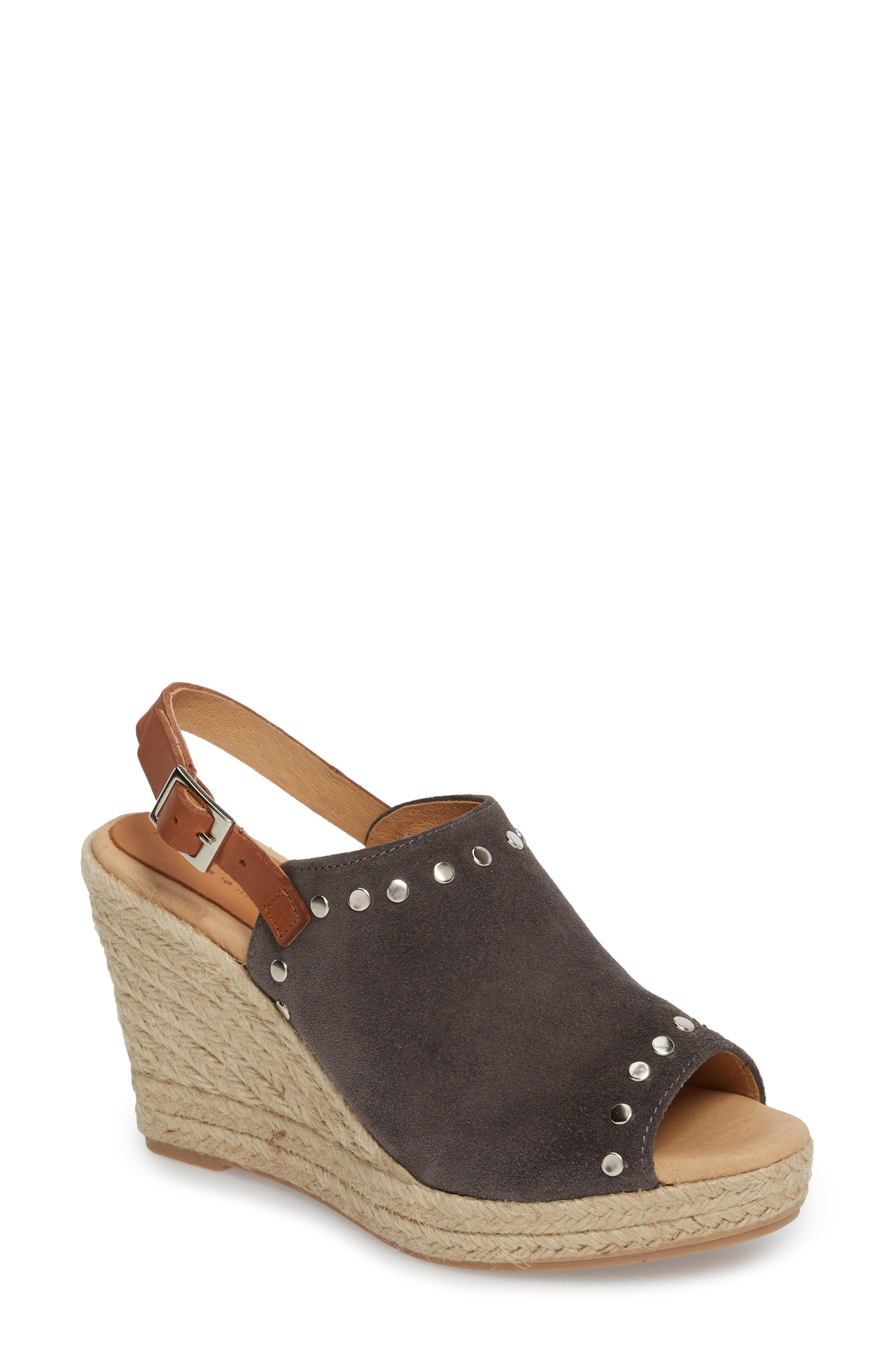 Rockstar Espadrille Wedge Sandal,                             Main thumbnail 1, color,                             CHARCOAL SUEDE