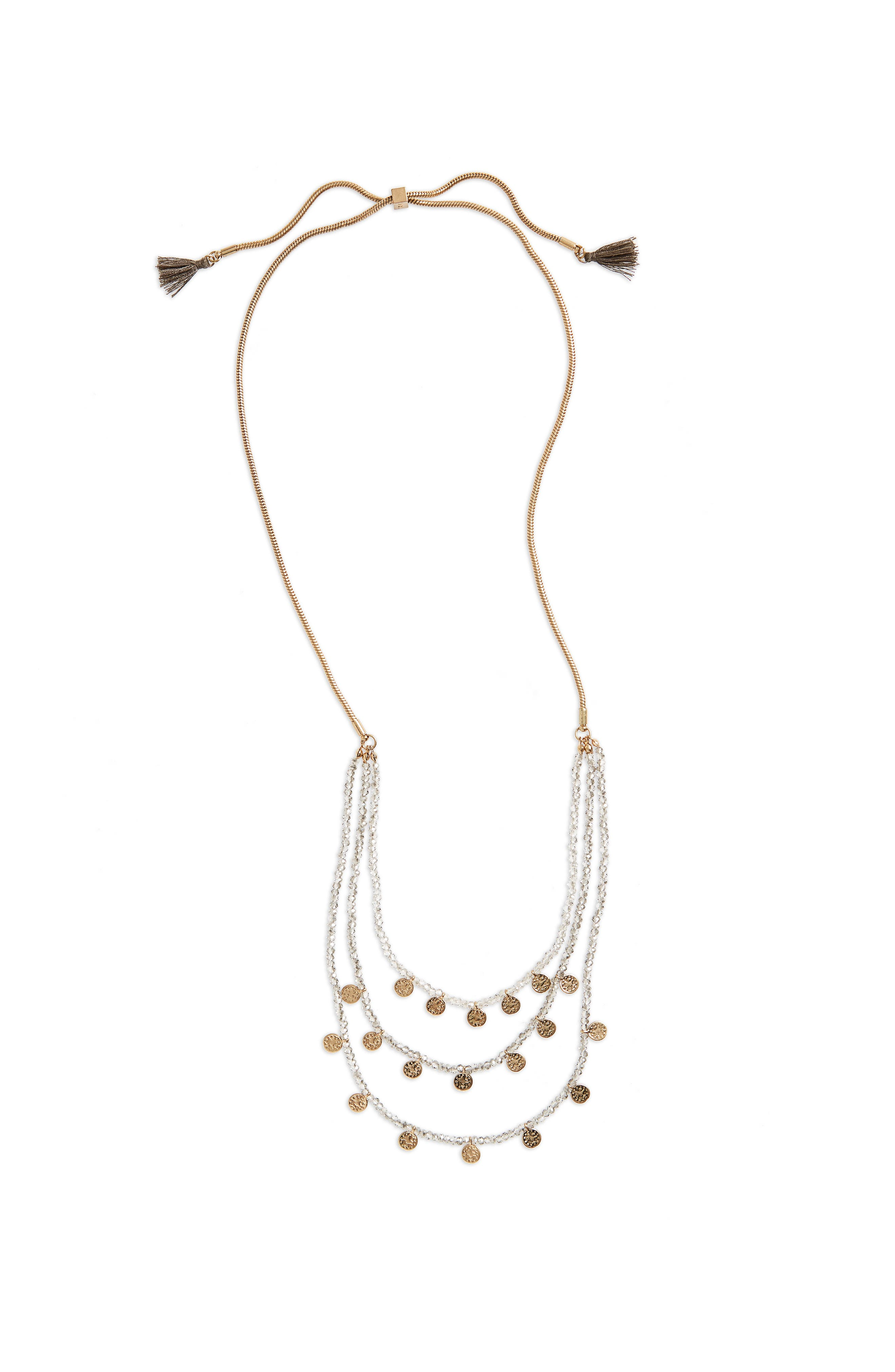 Medallion & Bead Necklace,                         Main,                         color, 020