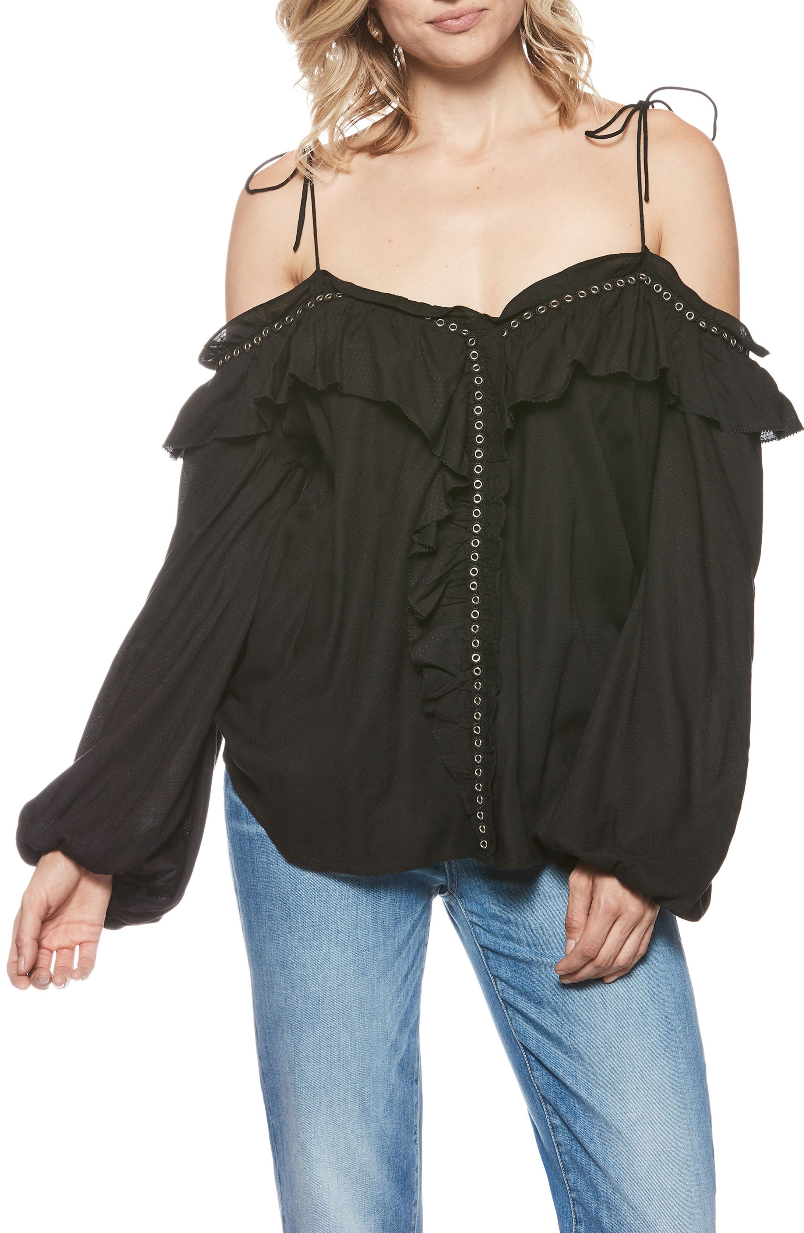 Journee Tie Shoulder Blouse,                         Main,                         color, BLACK