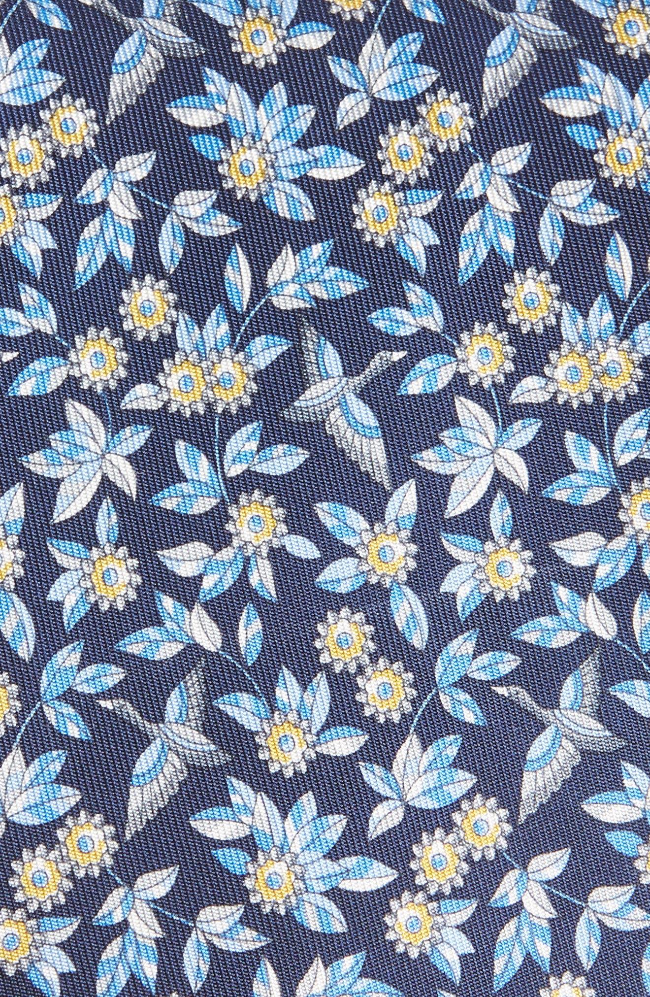 Floral Print Silk Tie,                             Alternate thumbnail 2, color,                             NAVY