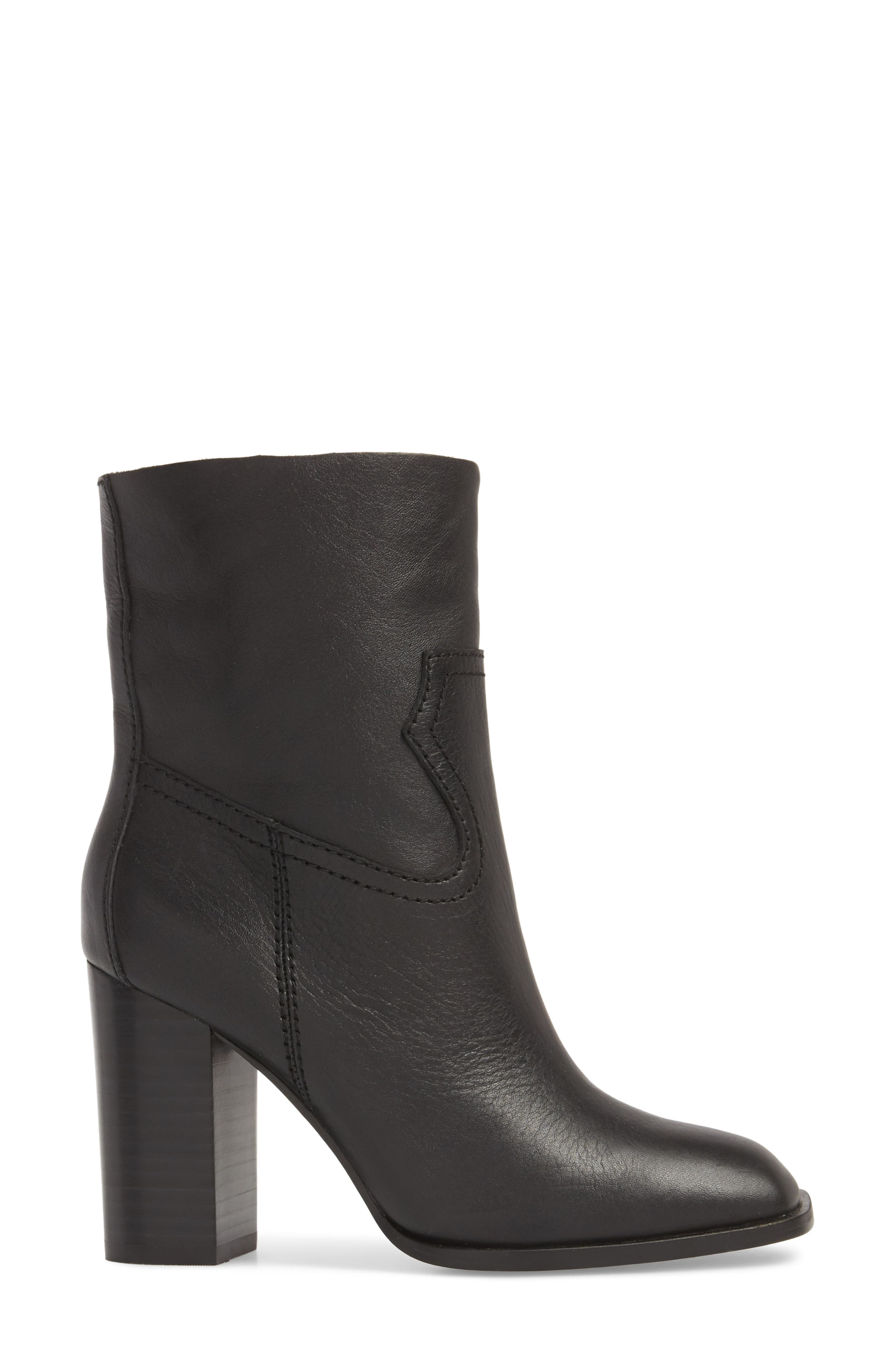 Nero Bootie,                             Alternate thumbnail 3, color,                             BLACK LEATHER
