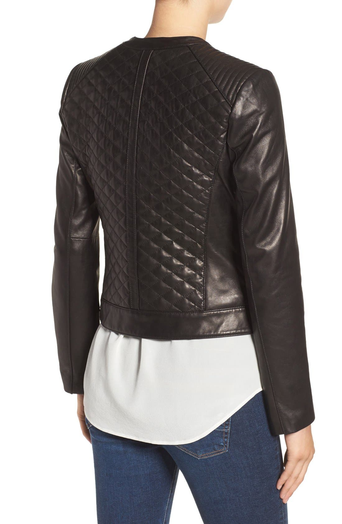 Quilted Leather Moto Jacket,                             Alternate thumbnail 3, color,                             BLACK