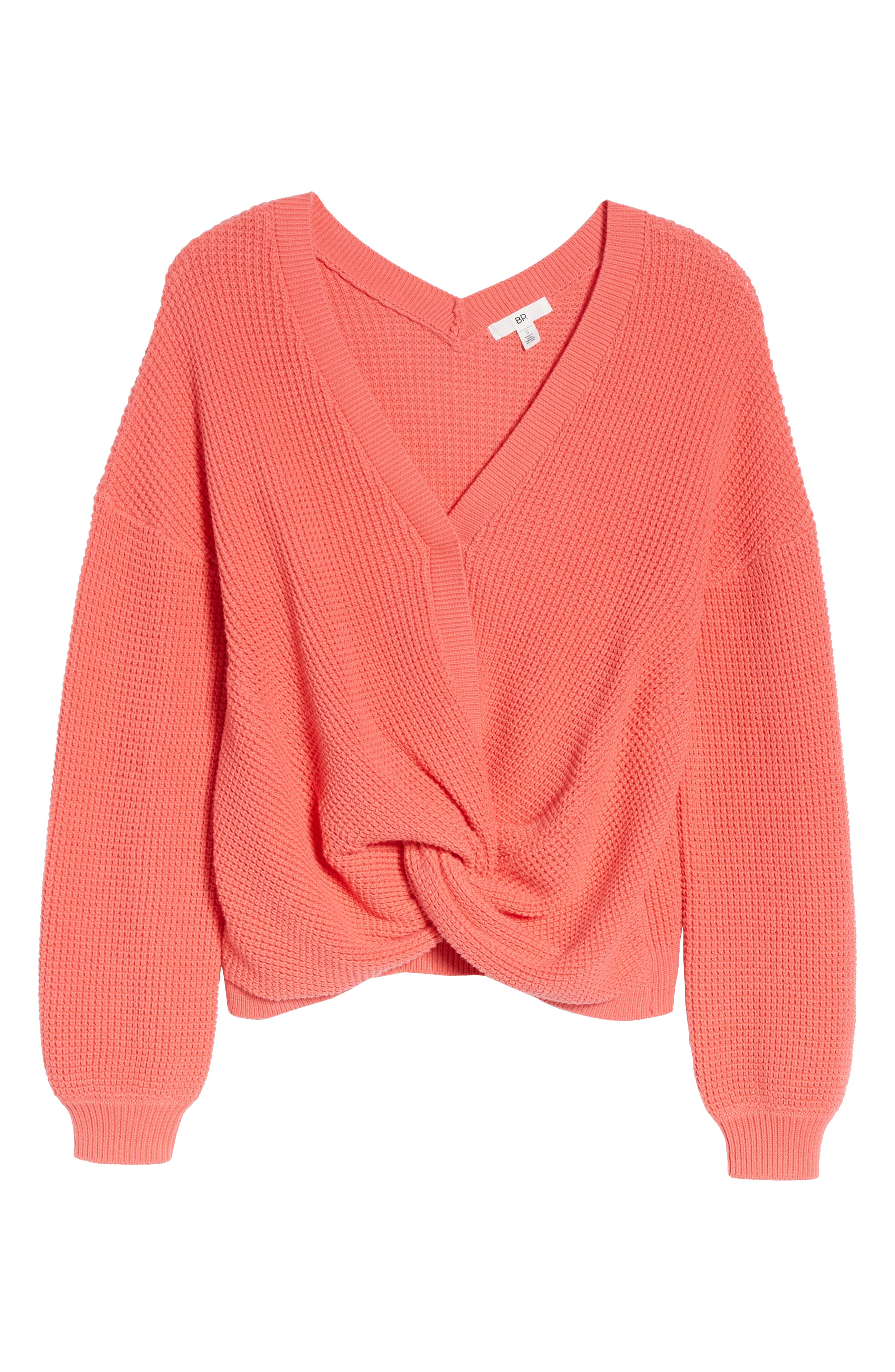 Twist Front Sweater,                             Alternate thumbnail 7, color,                             CORAL SUNKIST