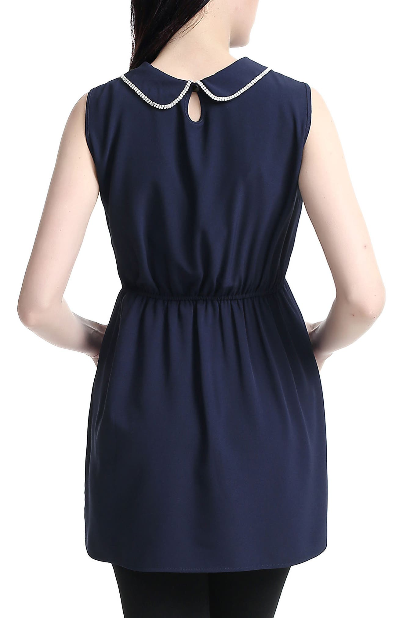 KIMI AND KAI,                             'Callie' Crystal Embellished Peter Pan Collar Sleeveless Maternity Blouse,                             Alternate thumbnail 4, color,                             NAVY
