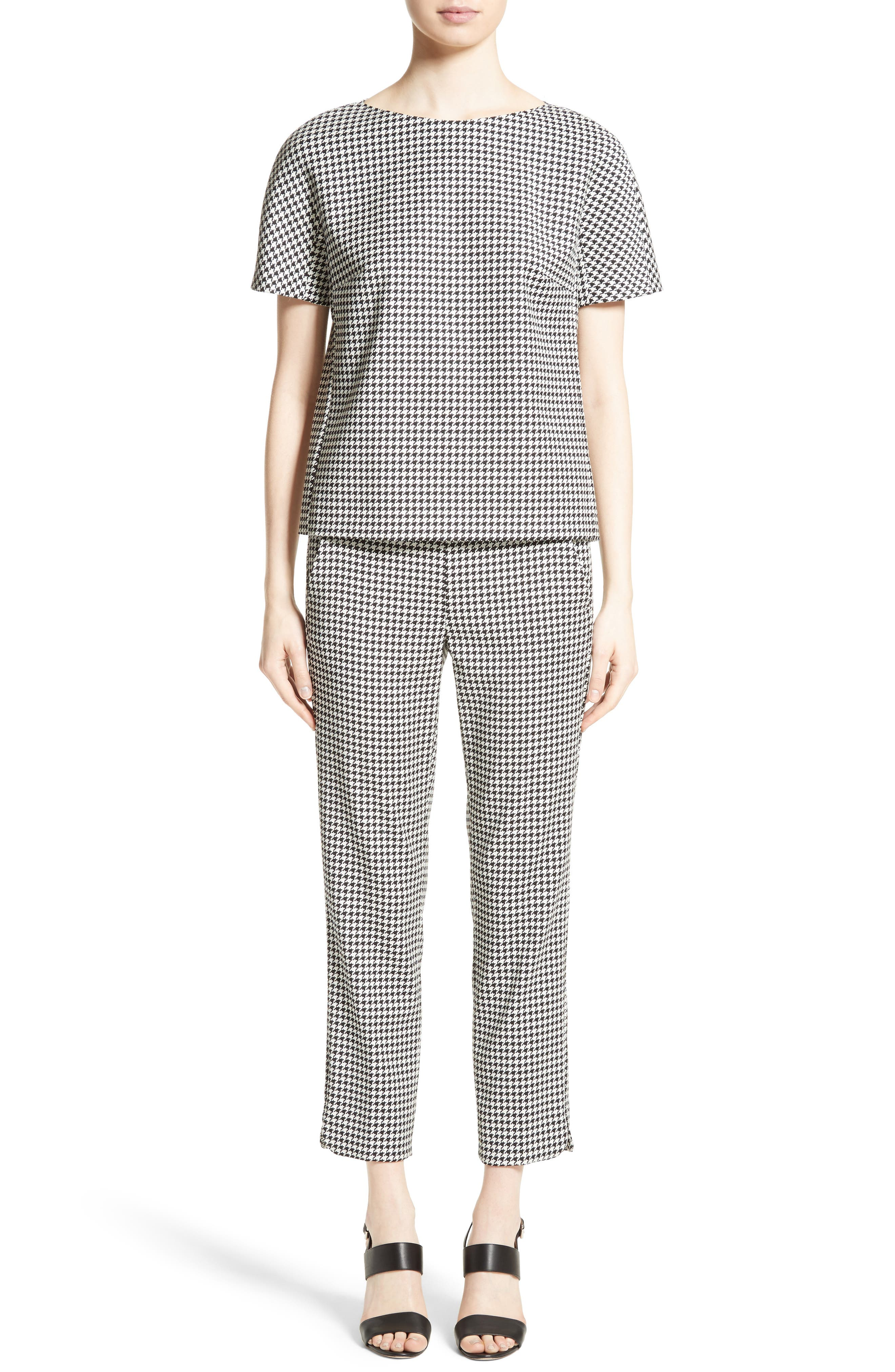 Ares Wool Blend Houndstooth Top,                             Alternate thumbnail 6, color,                             001