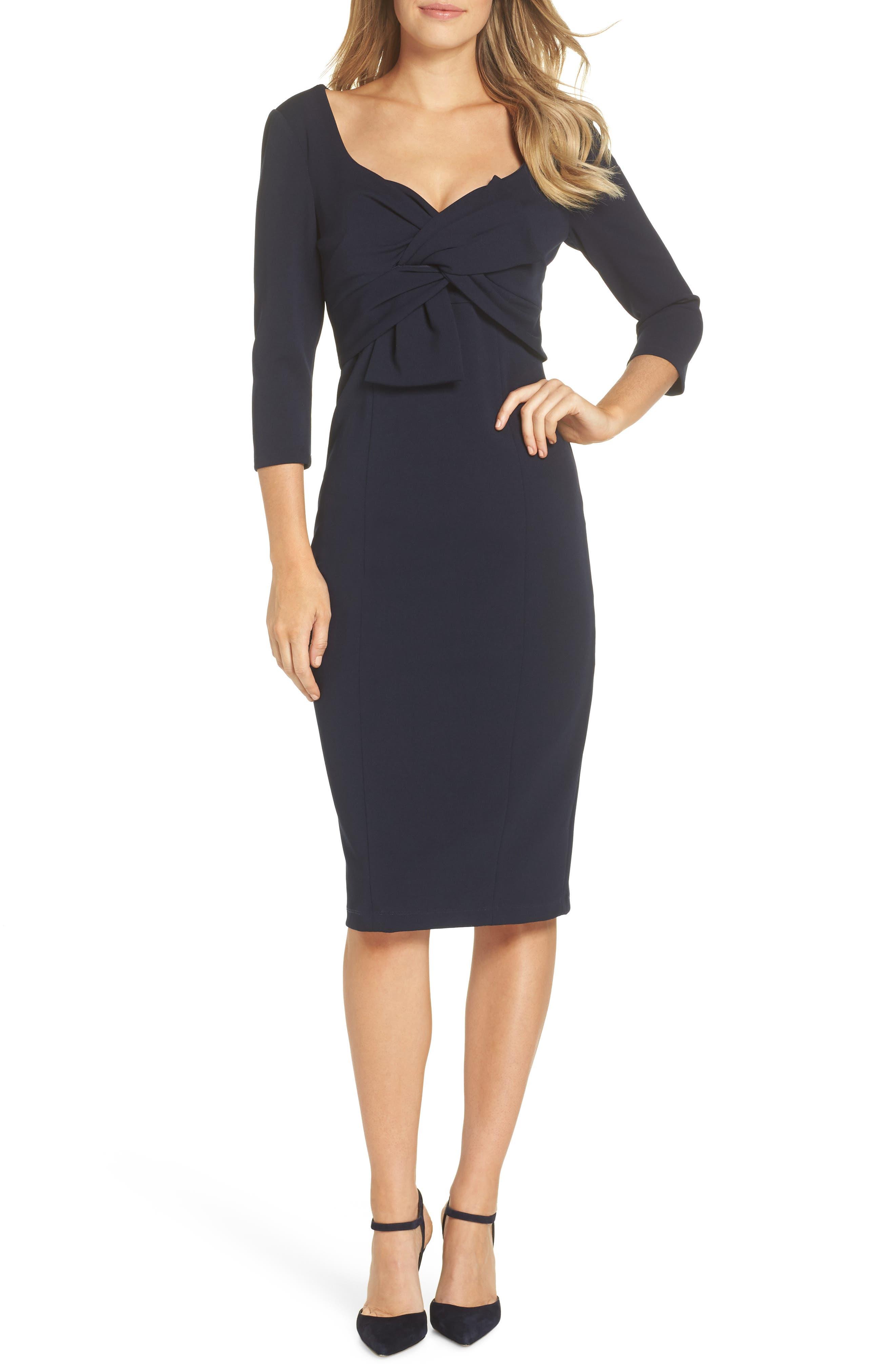 MAGGY LONDON Bow Twist Scuba Crepe Dress, Main, color, TWILIGHT NAVY