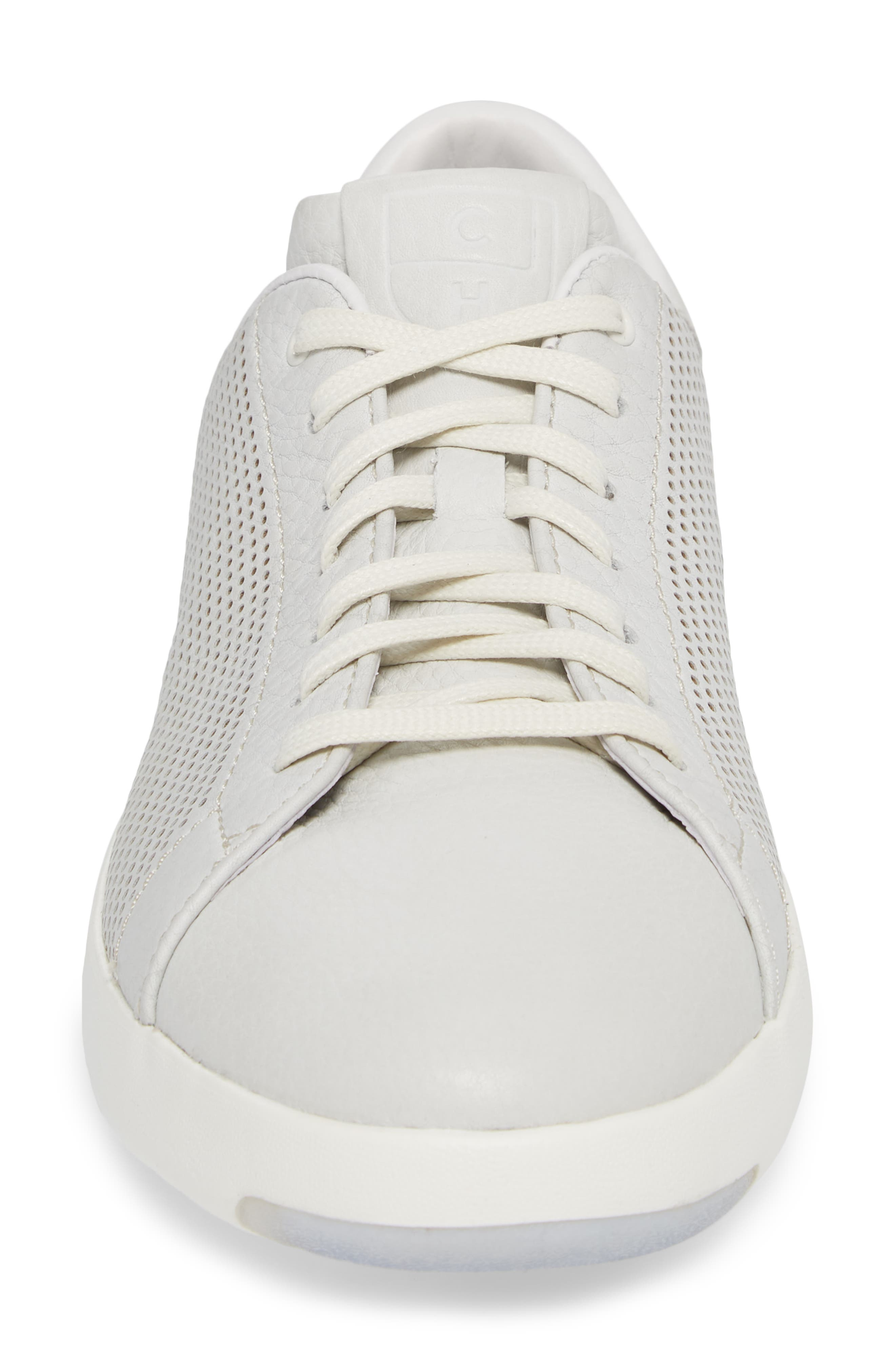 GrandPrø Perforated Low Top Sneaker,                             Alternate thumbnail 4, color,                             WHITE TUM LEATHER