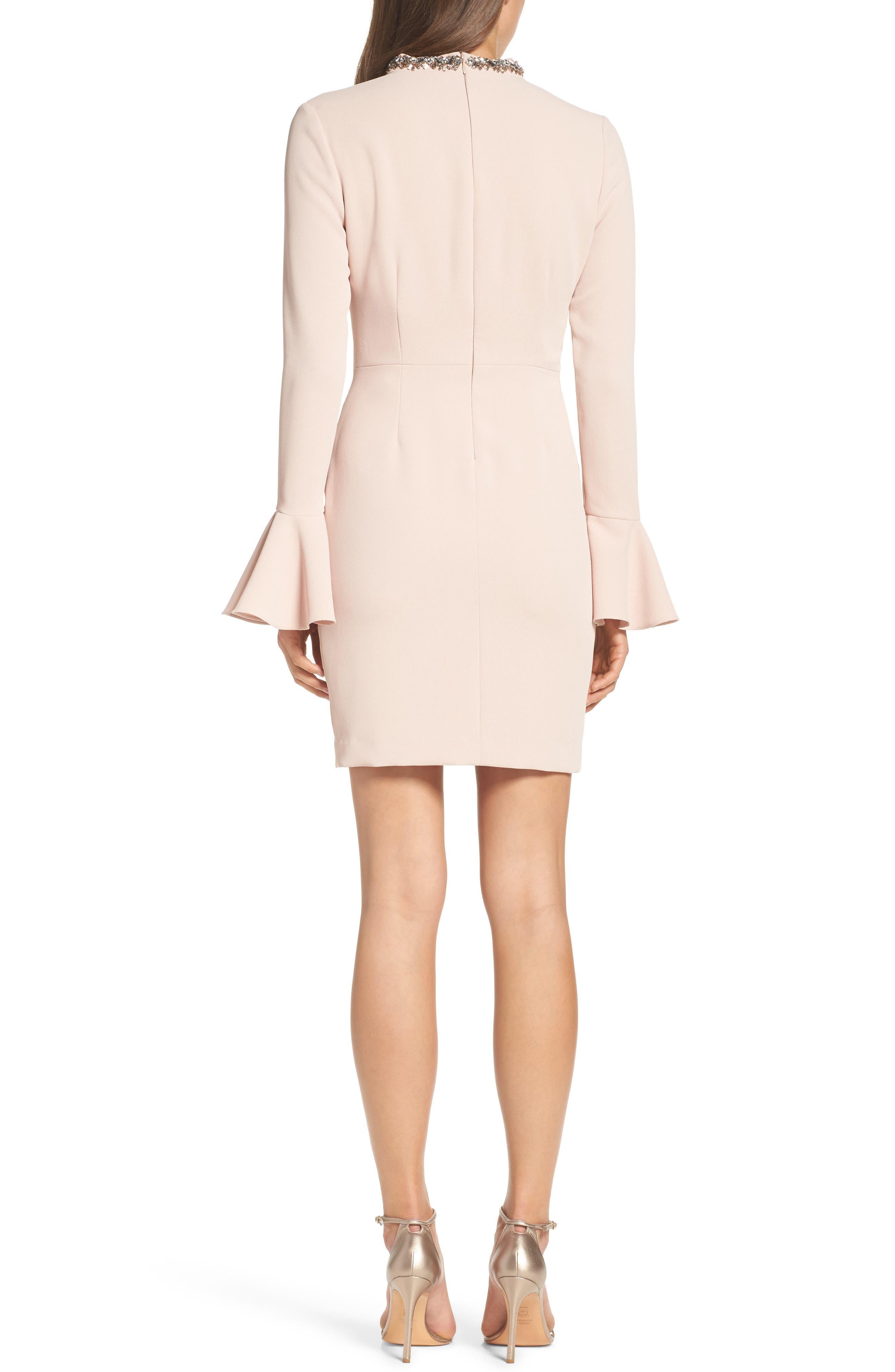 Crystal Choker Bell Sleeve Sheath Dress,                             Alternate thumbnail 4, color,