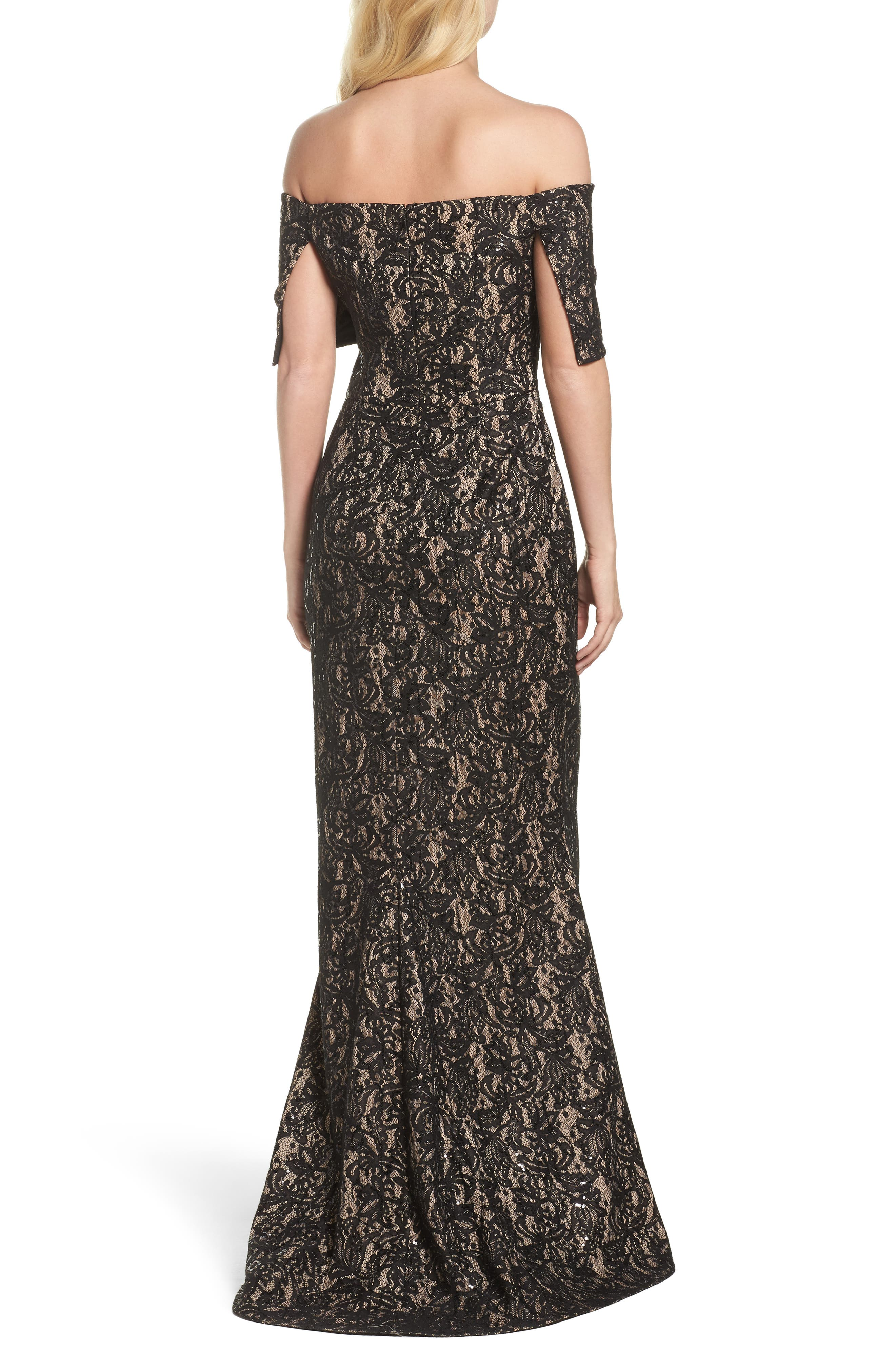 VINCE CAMUTO,                             Sequin Off the Shoulder Gown,                             Alternate thumbnail 2, color,                             BLACK/ TAN