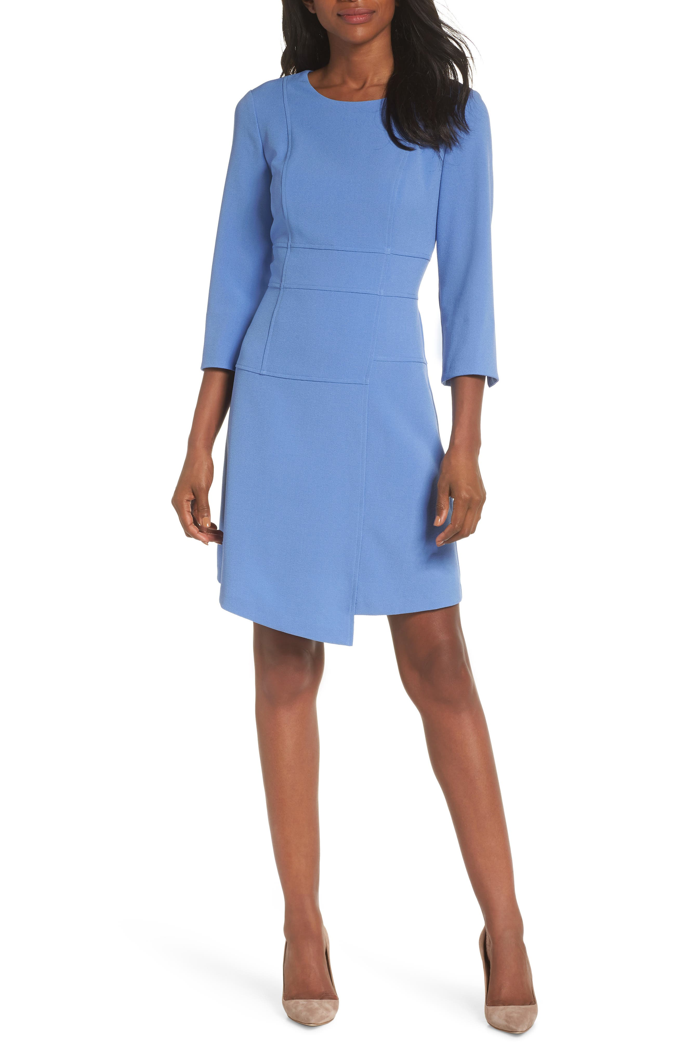Vince Camuto Crepe A-Line Dress, Blue