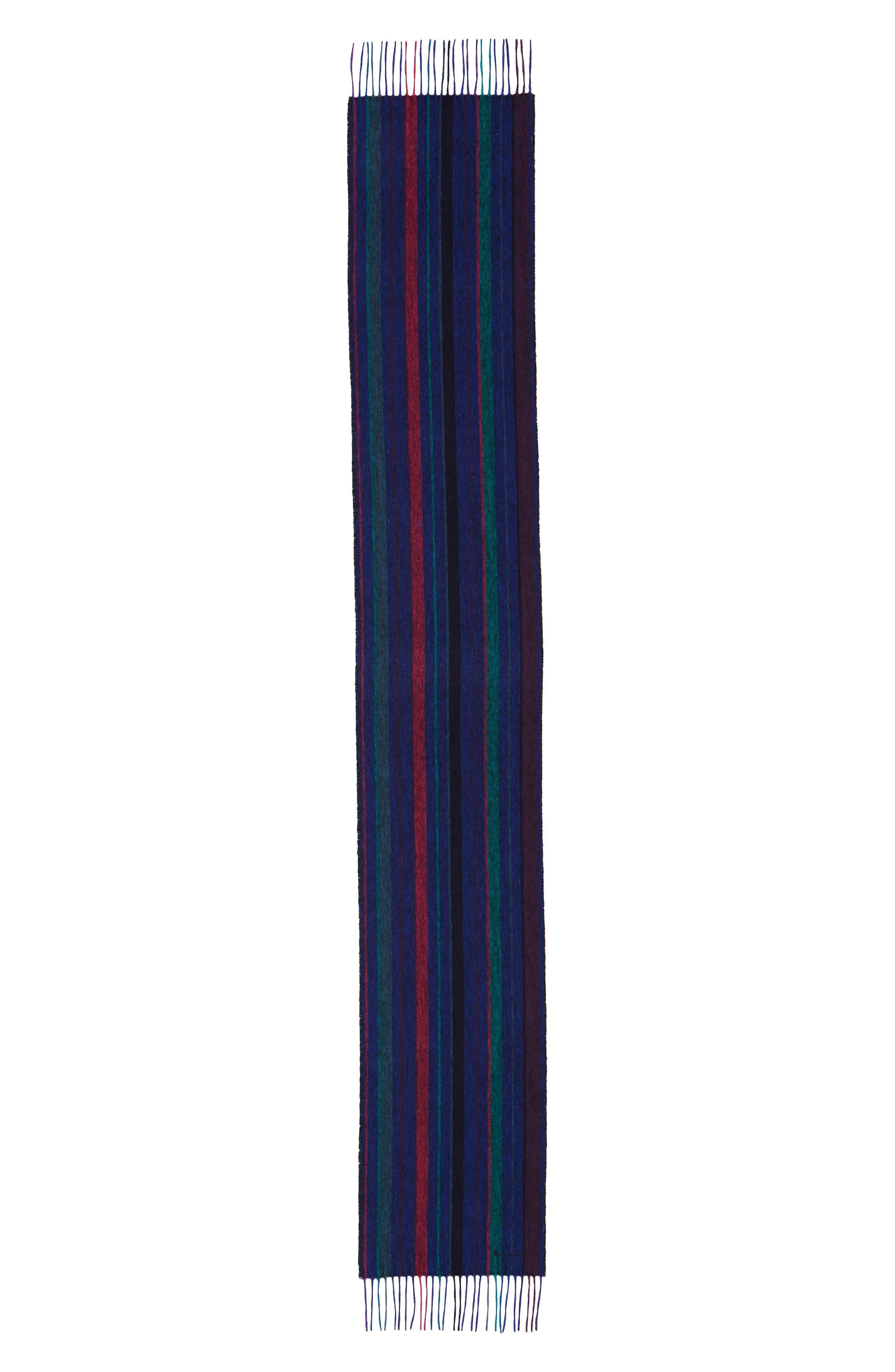 PAUL SMITH,                             College Stripe Wool Scarf,                             Alternate thumbnail 2, color,                             NAVY