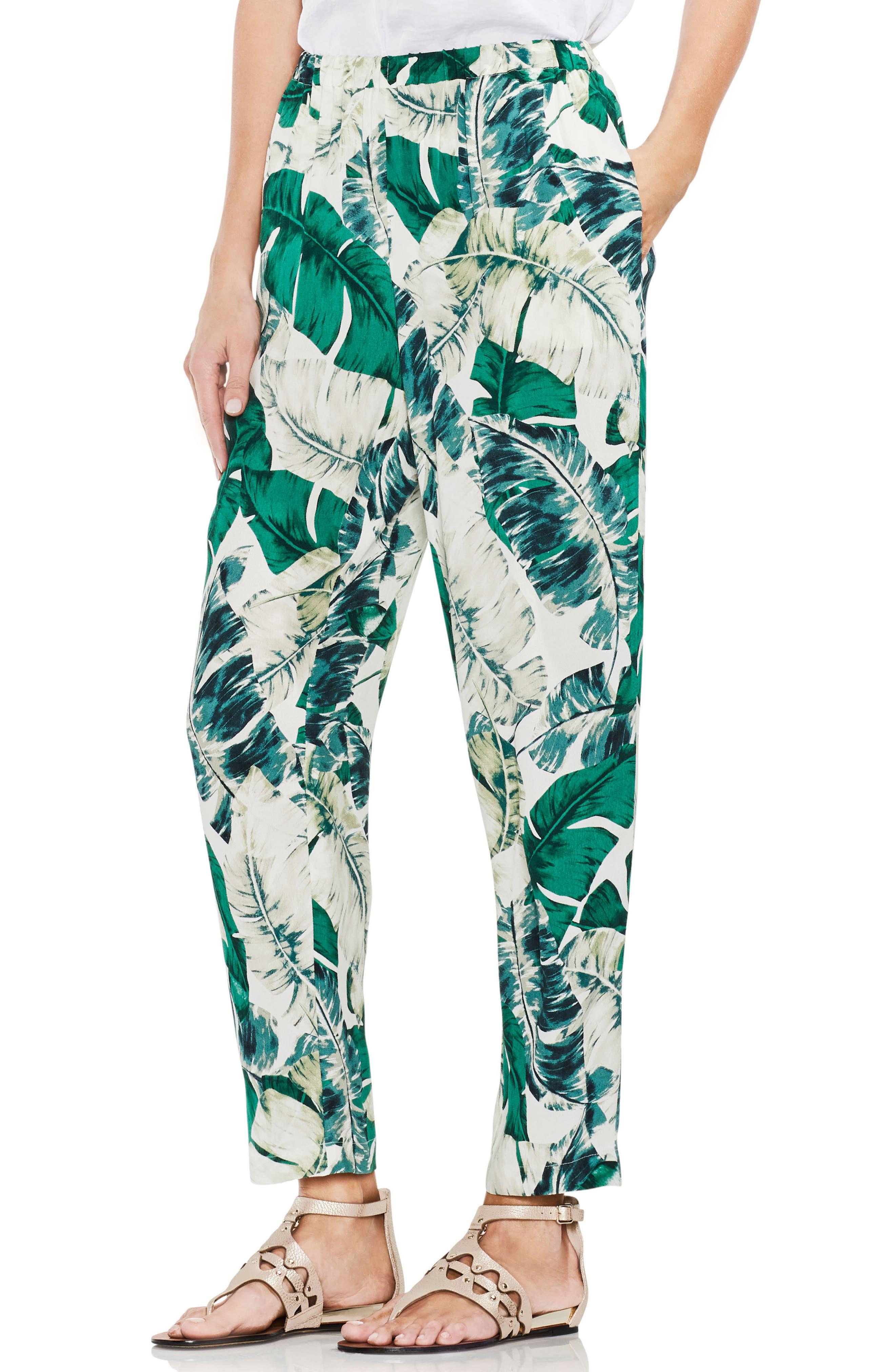 VINCE CAMUTO,                             Jungle Palm Print Slim Leg Pants,                             Main thumbnail 1, color,                             103