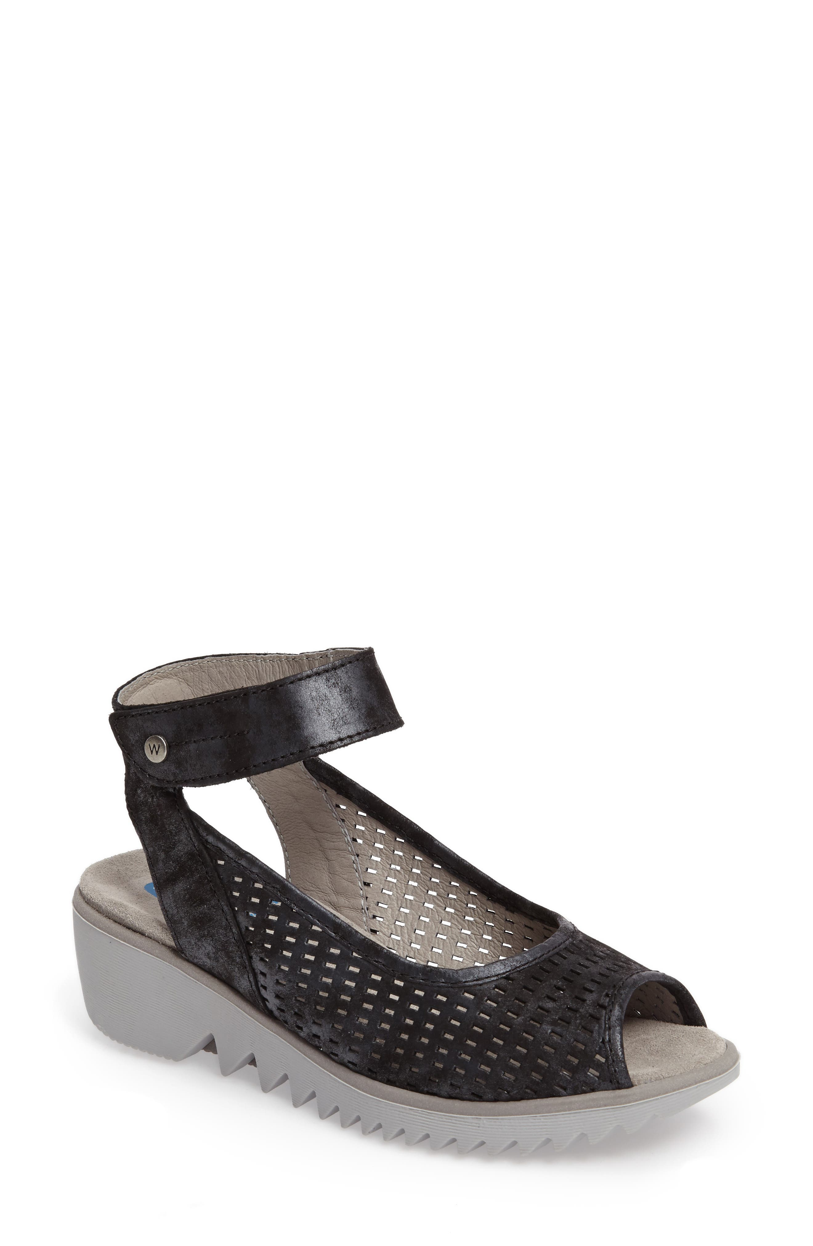 Frosty Ankle Strap Wedge Sandal,                             Main thumbnail 1, color,                             001