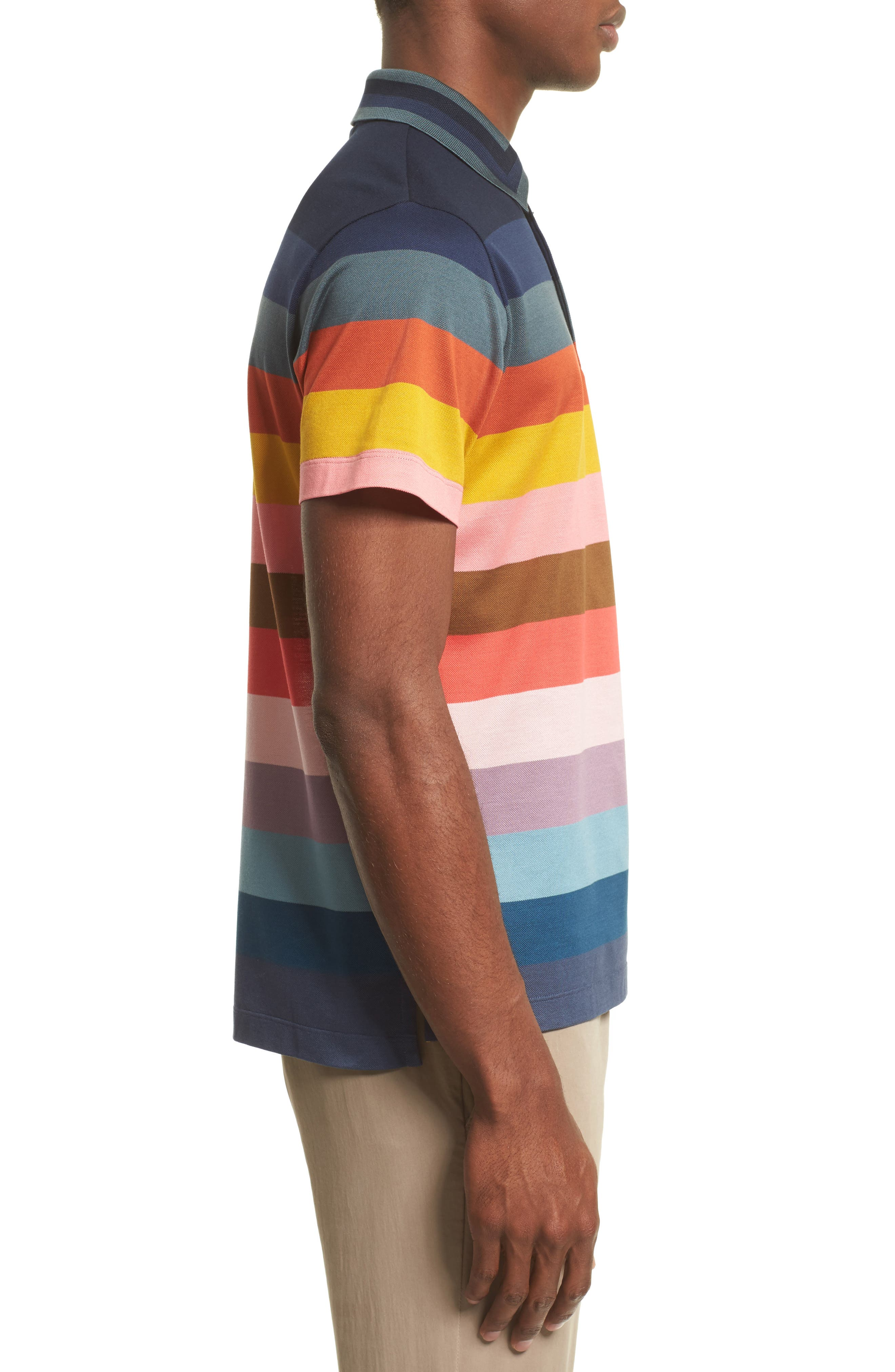 Multi Stripe Piqué Polo,                             Alternate thumbnail 3, color,                             400