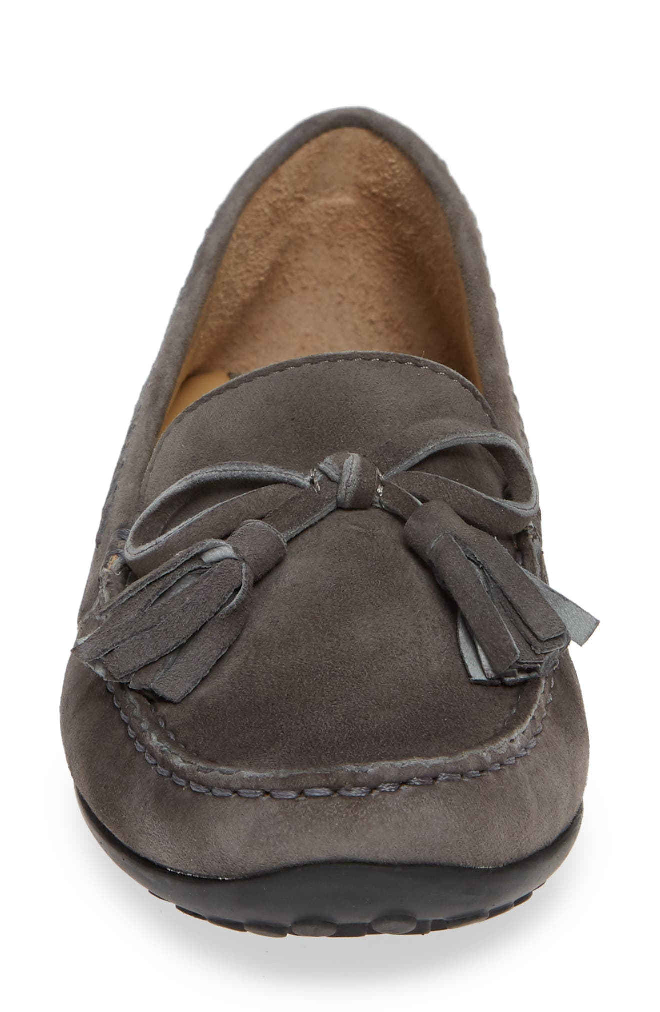 Acajou Driving Moccasin,                             Alternate thumbnail 4, color,                             GREY SUEDE