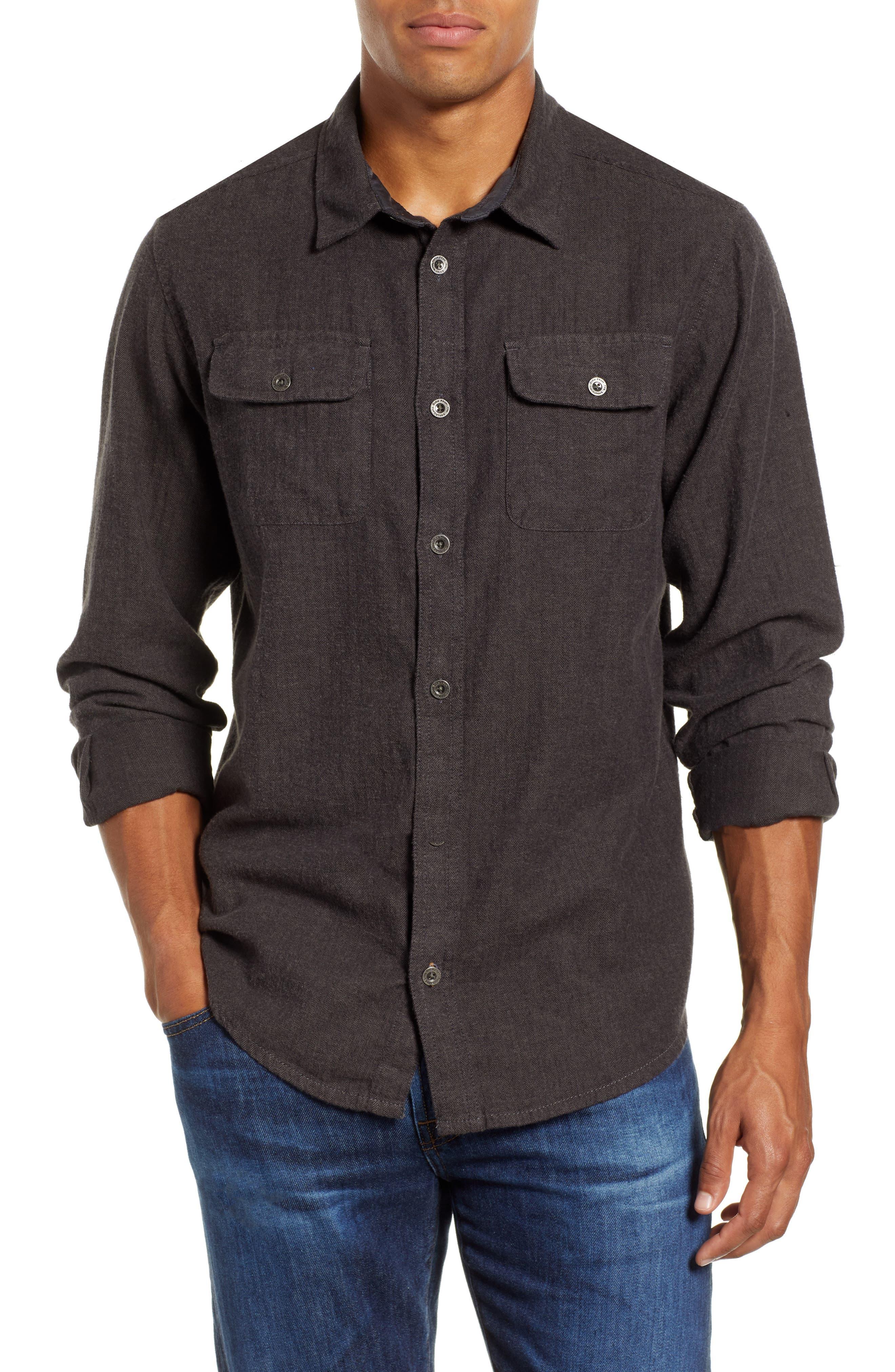 Lybek Regular Fit Herringbone Flannel Shirt,                             Main thumbnail 1, color,                             SCORCHED BROWN HERRINGBONE