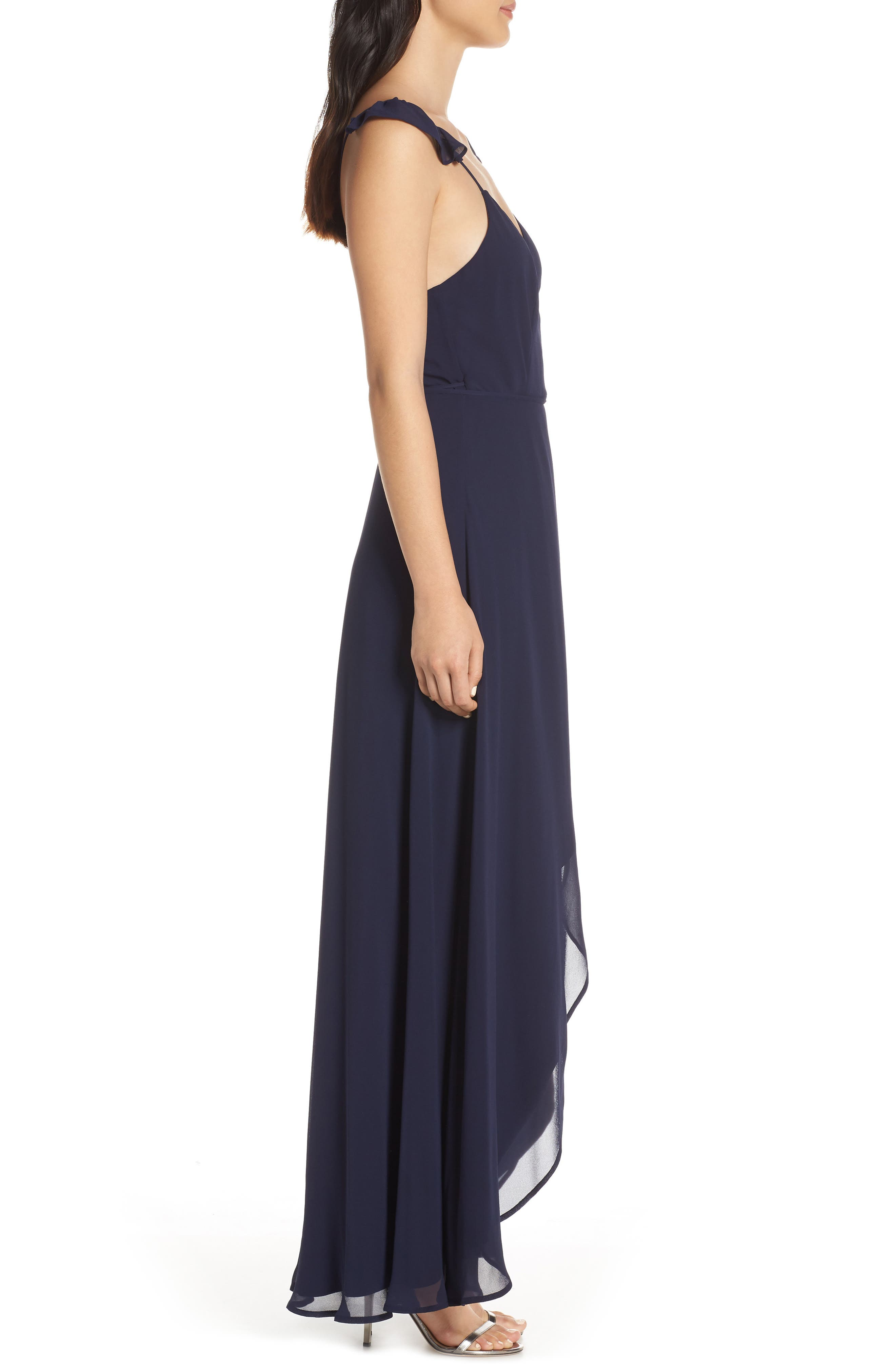 LULUS,                             Here's to Us High/Low Wrap Evening Dress,                             Alternate thumbnail 4, color,                             NAVY