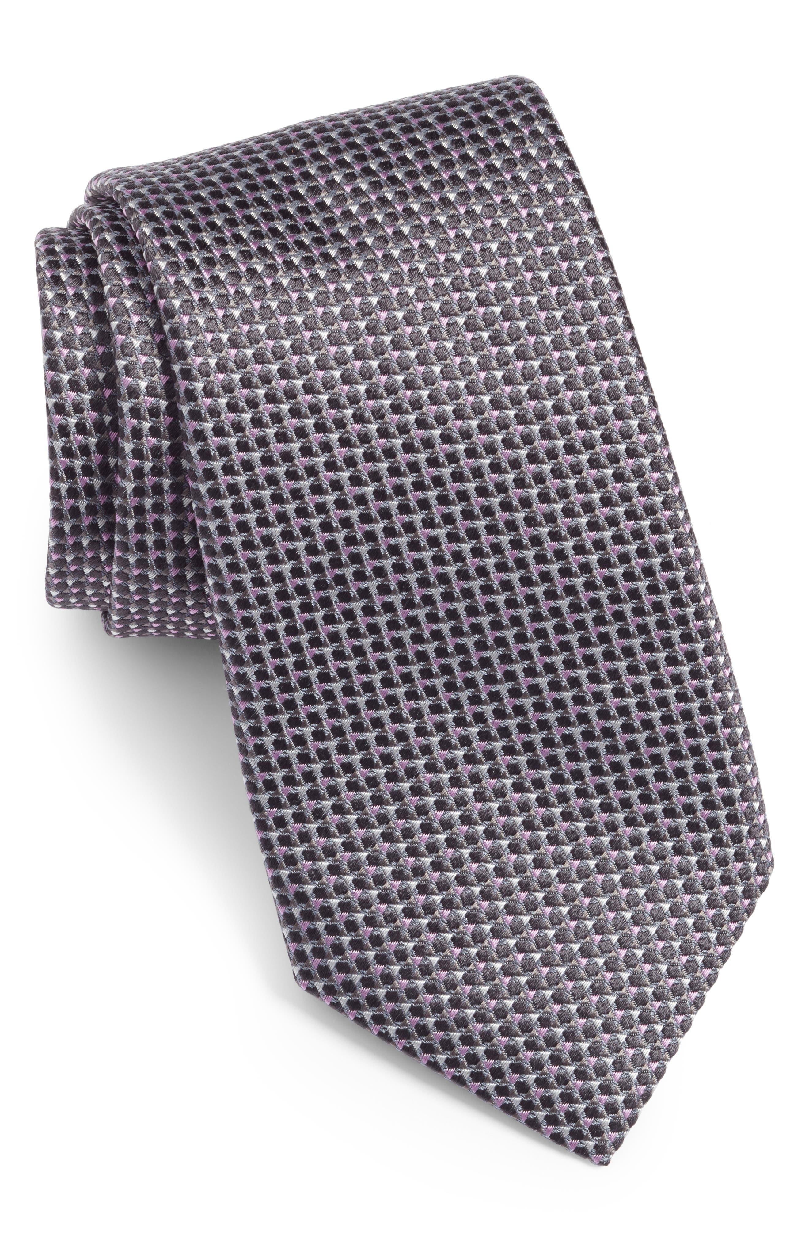 Textured Silk Tie,                             Main thumbnail 1, color,                             GREY