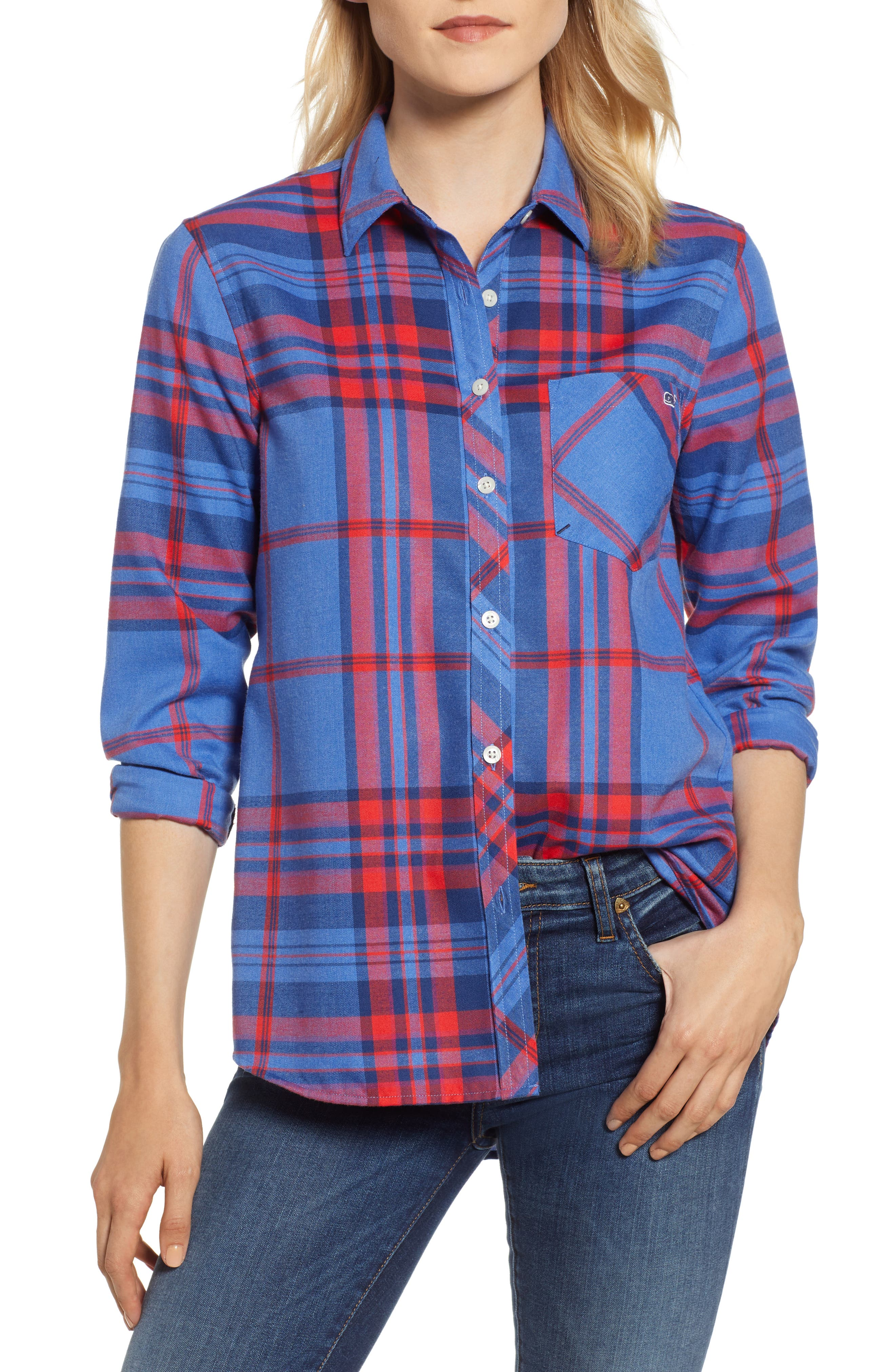 Northern Plaid Performance Flannel Shirt,                         Main,                         color, DAZZLING BLUE