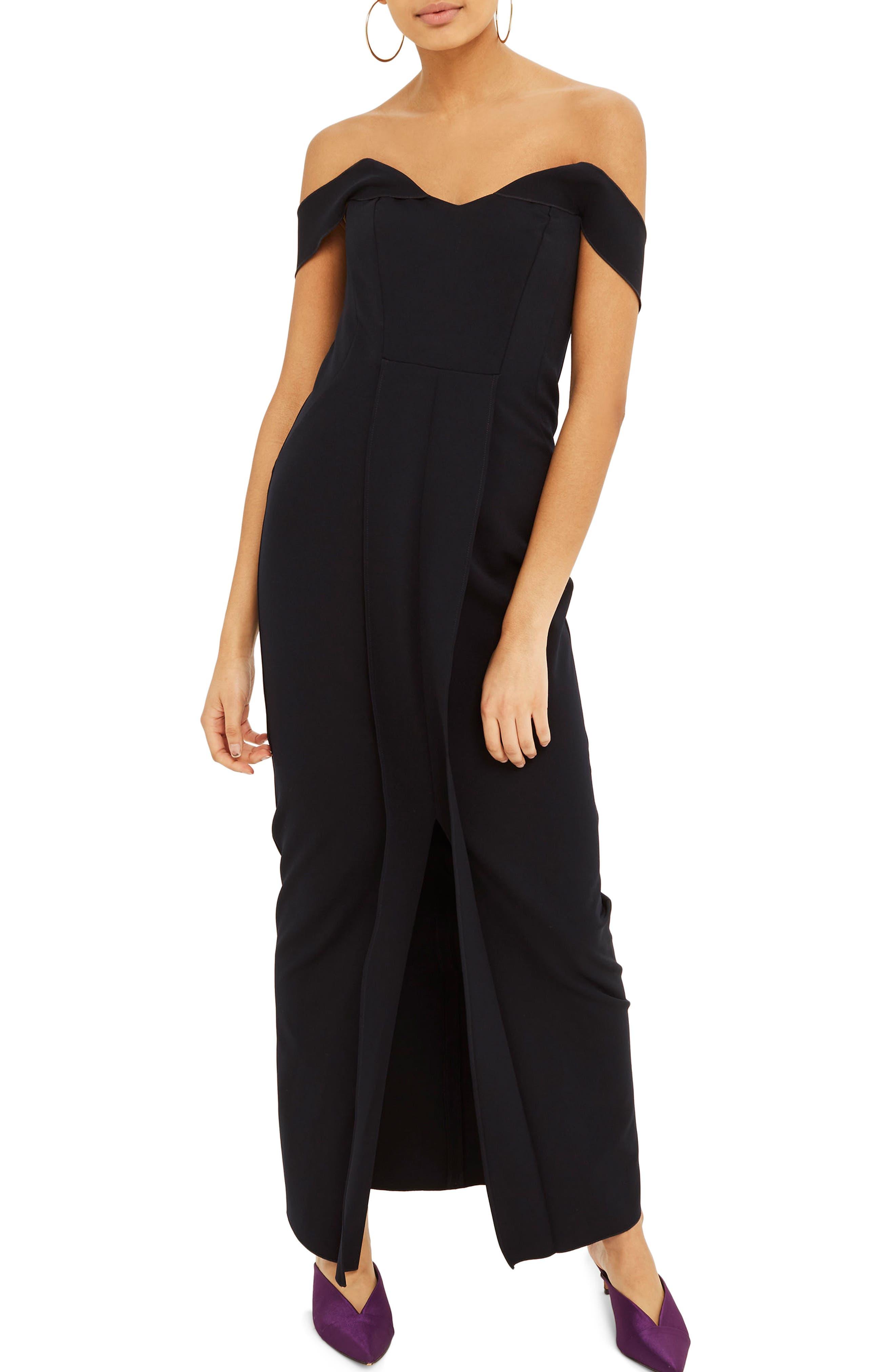 Off the Shoulder Crepe Dress,                         Main,                         color, 410