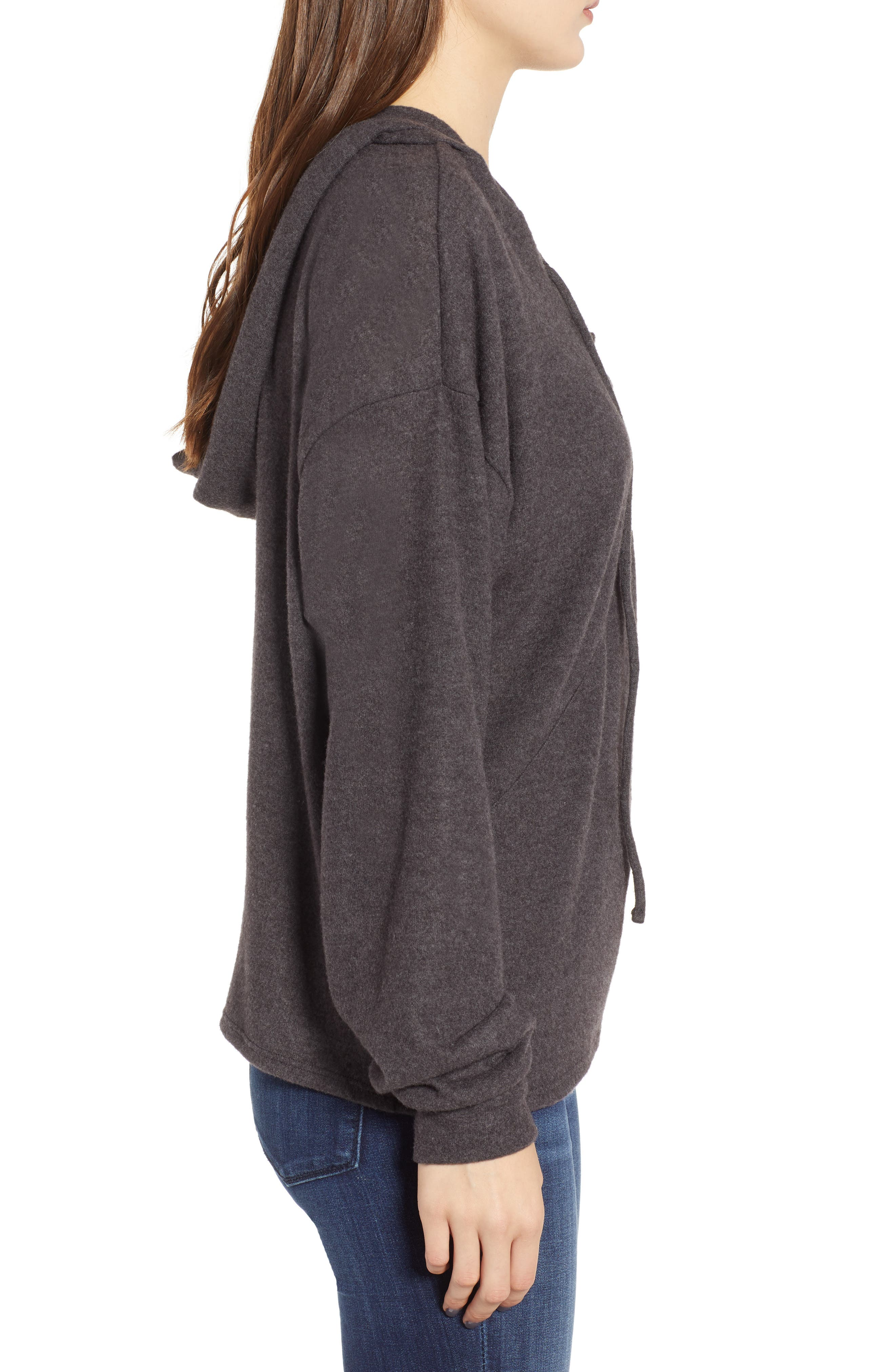 Calhoun Lace-Up Hoodie,                             Alternate thumbnail 3, color,                             CHARCOAL