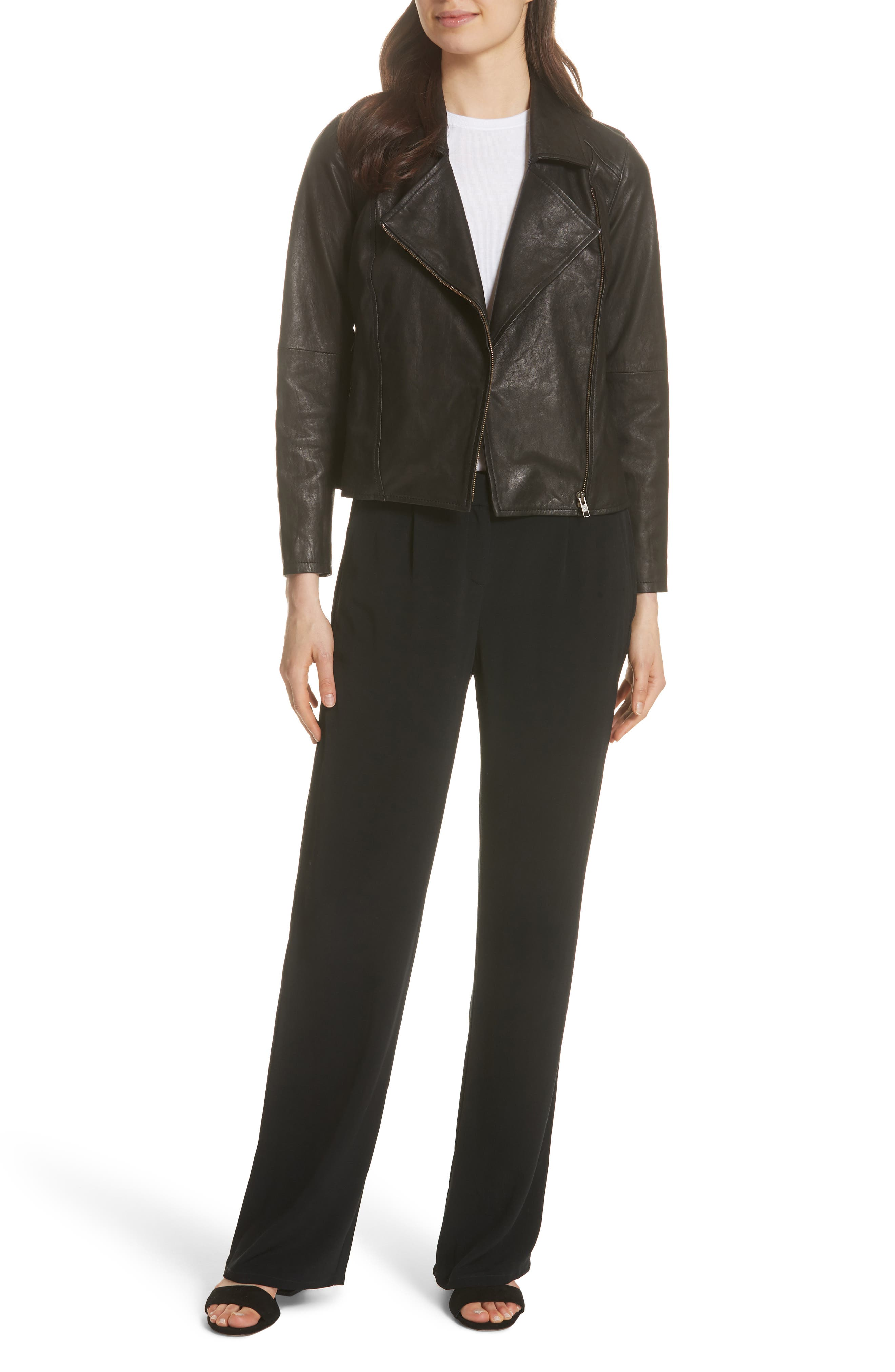 EILEEN FISHER,                             Leather Moto Jacket,                             Alternate thumbnail 7, color,                             001