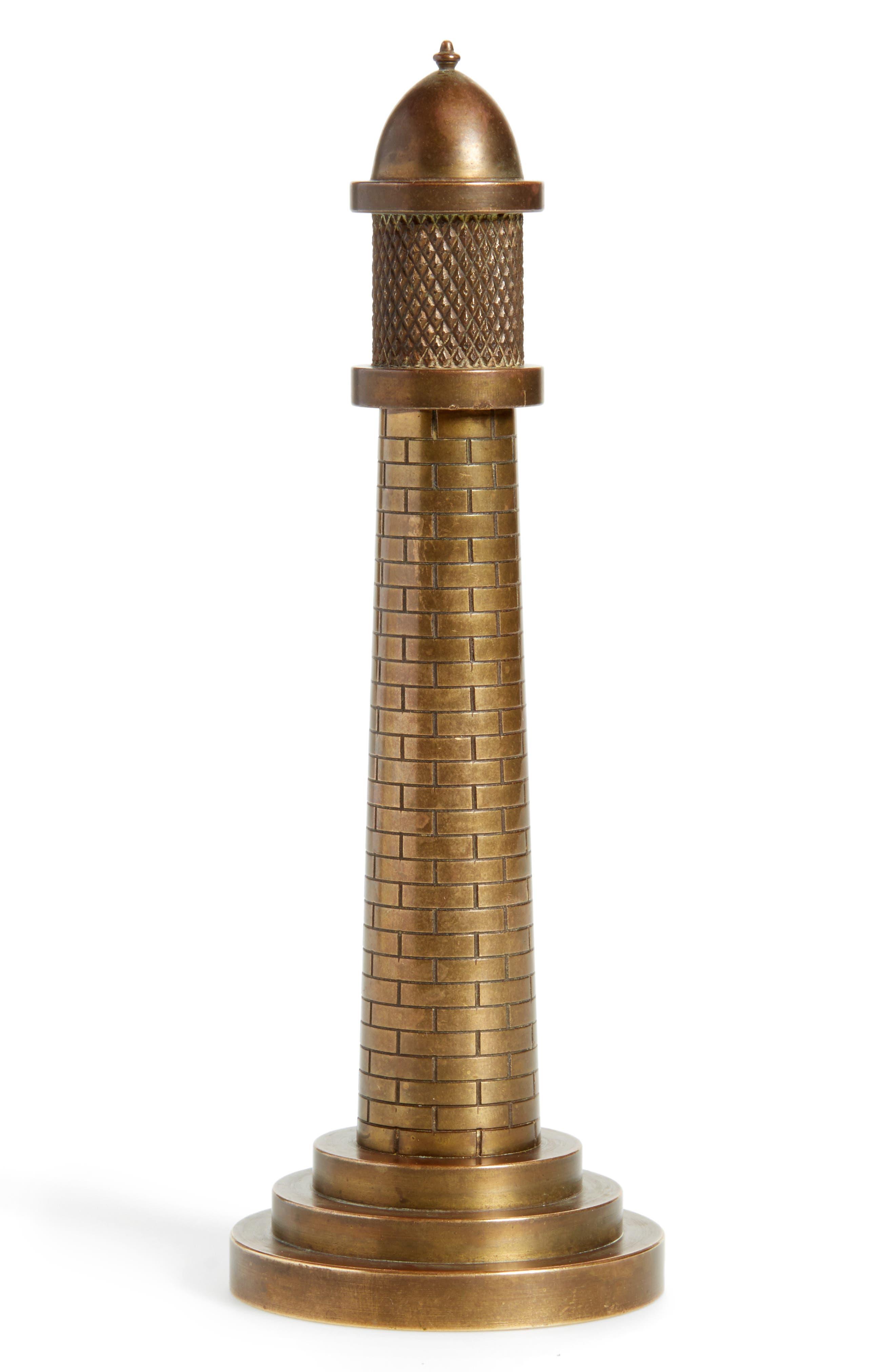 One of a Kind Vintage Brass Lighthouse Table Lighter,                         Main,                         color, BRONZE