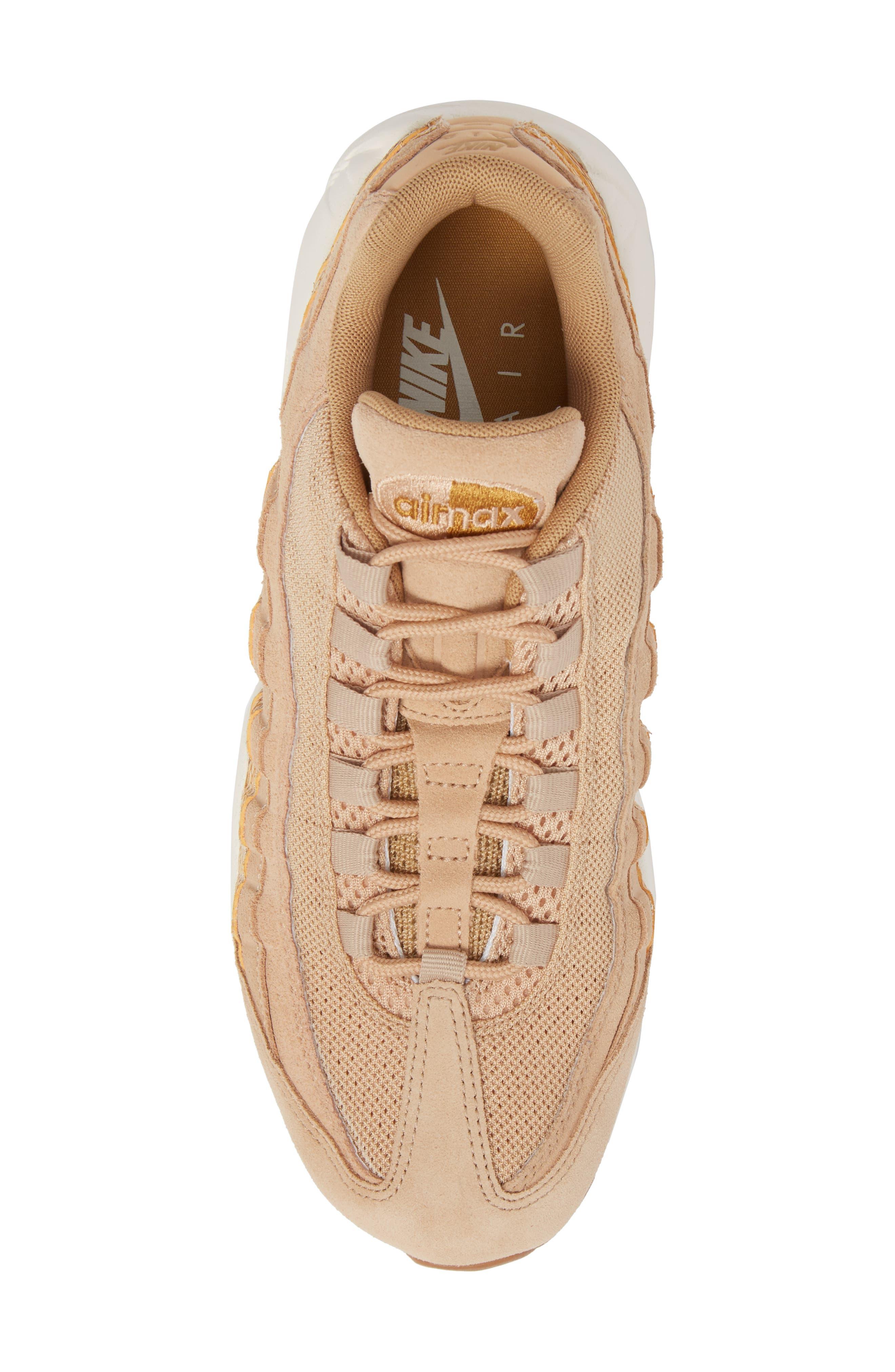 Air Max 95 Premium SE Sneaker,                             Alternate thumbnail 5, color,                             TAN/ TAN/ ELEMENTAL GOLD