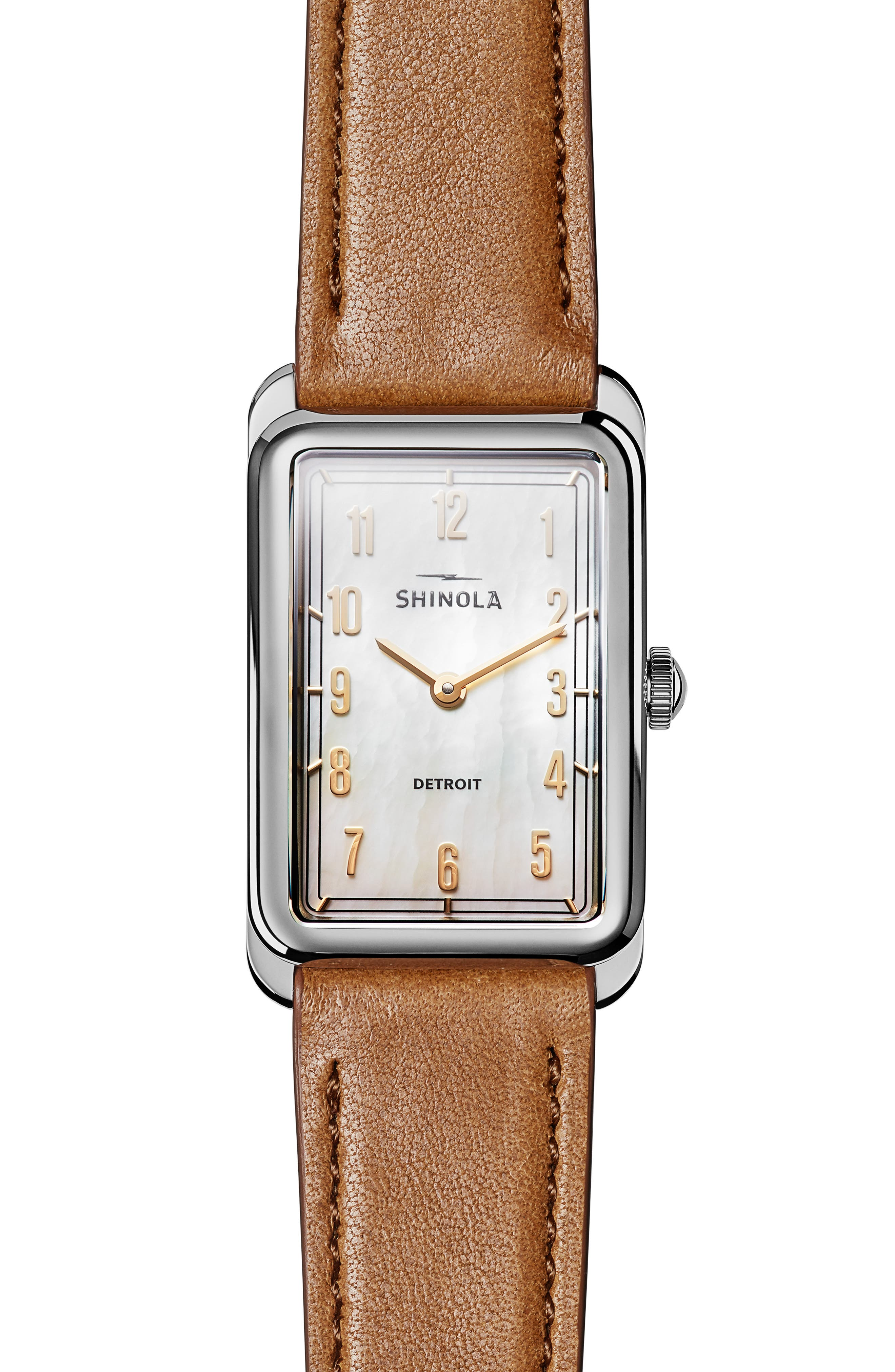 The Muldowney Rectangular Leather Strap Watch, 24mm x 32mm,                             Main thumbnail 2, color,