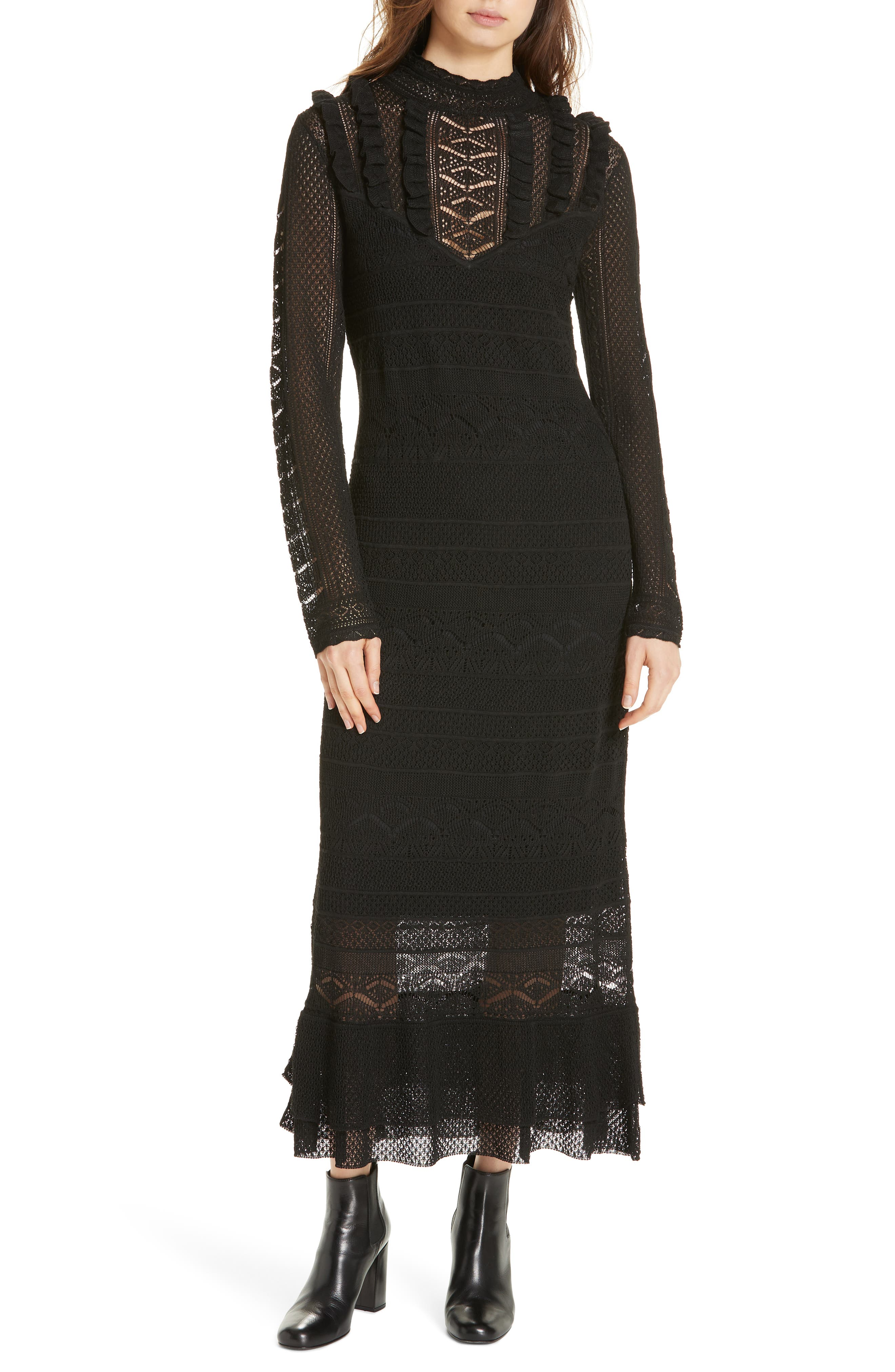 Pointelle Lace Midi Dress,                             Main thumbnail 1, color,                             001