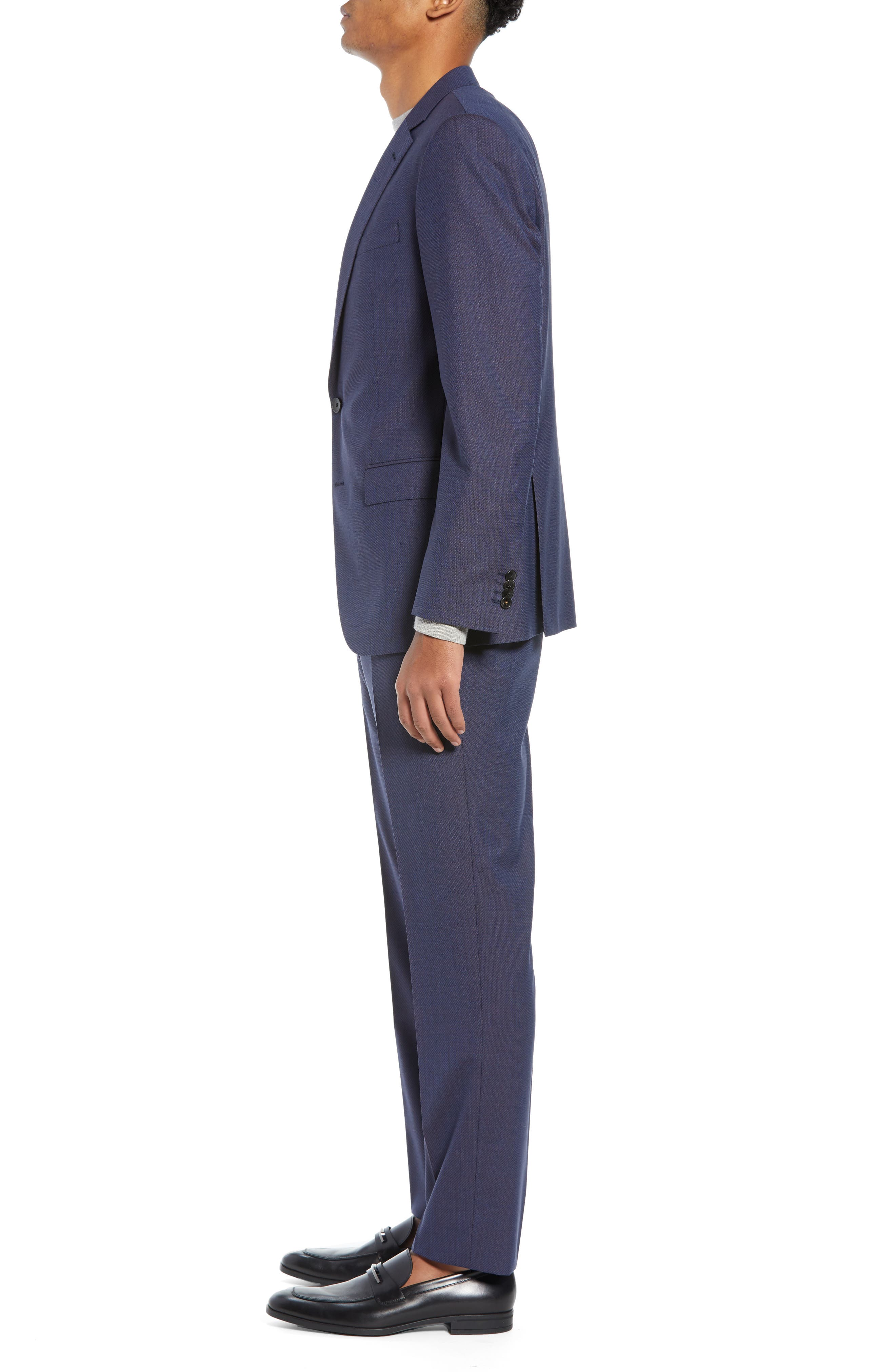 Huge/Genius Trim Fit Solid Wool Suit,                             Alternate thumbnail 3, color,                             OPEN BLUE