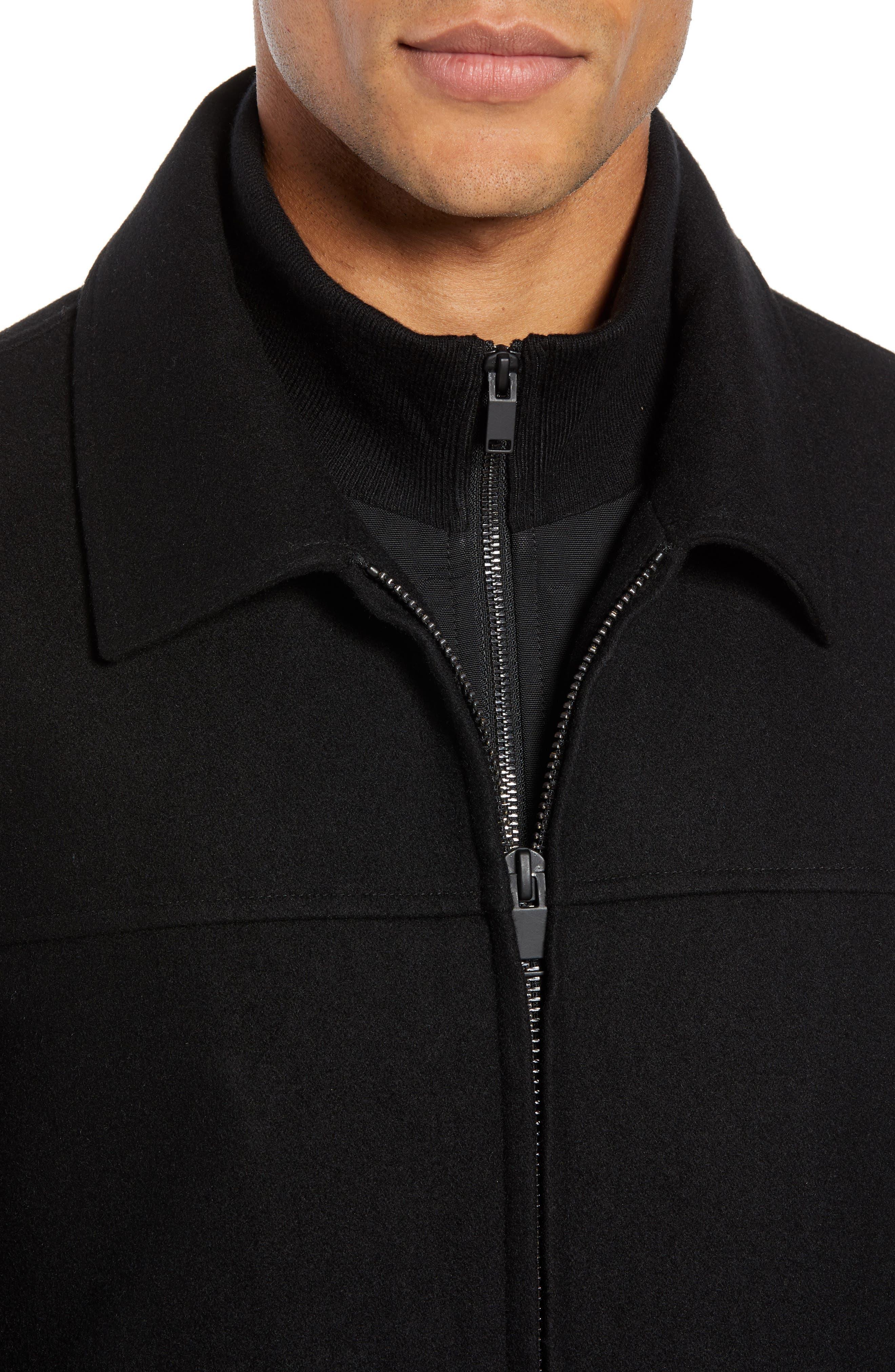 Layered Wool Blend Coat,                             Alternate thumbnail 4, color,                             BLACK