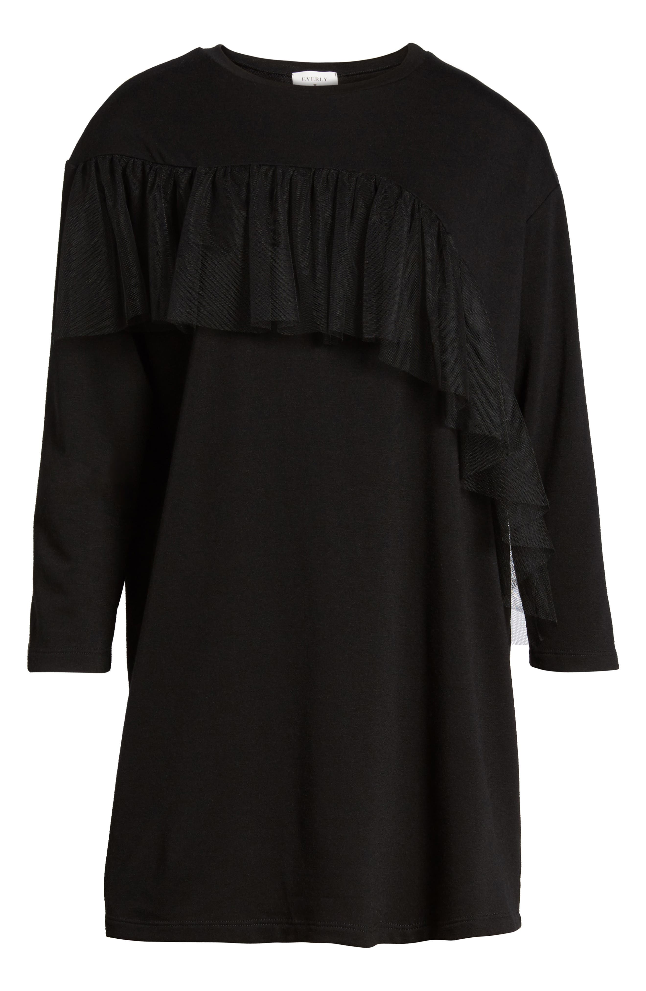 Tulle Ruffle Sweatshirt Dress,                             Alternate thumbnail 6, color,                             001