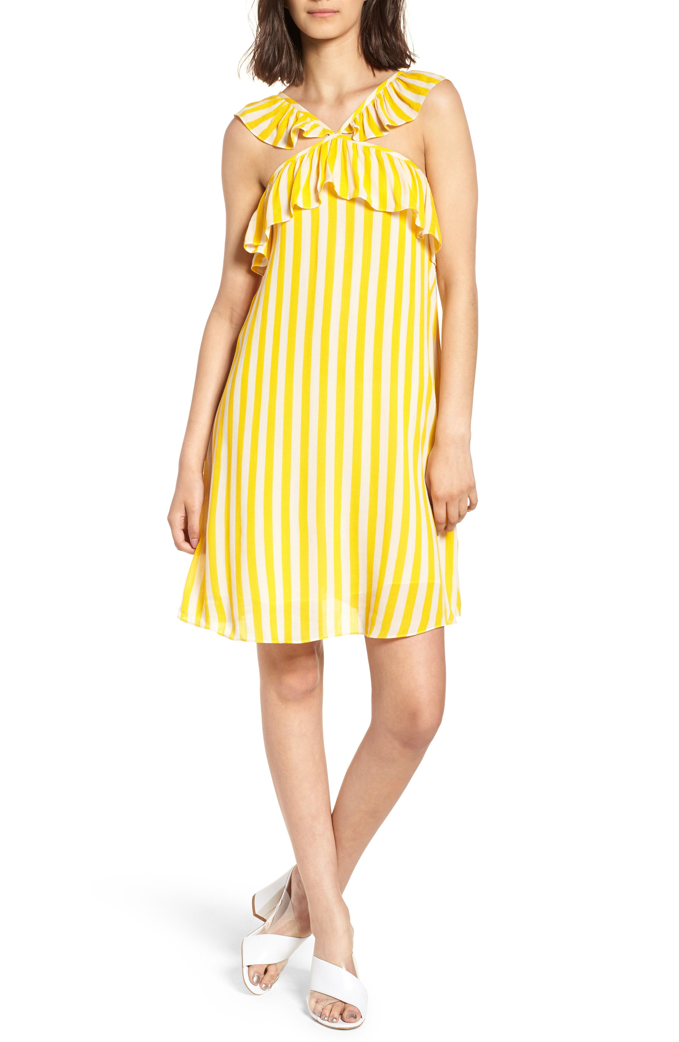 Tinsley Halter Dress,                         Main,                         color, YELLOW STRIPE