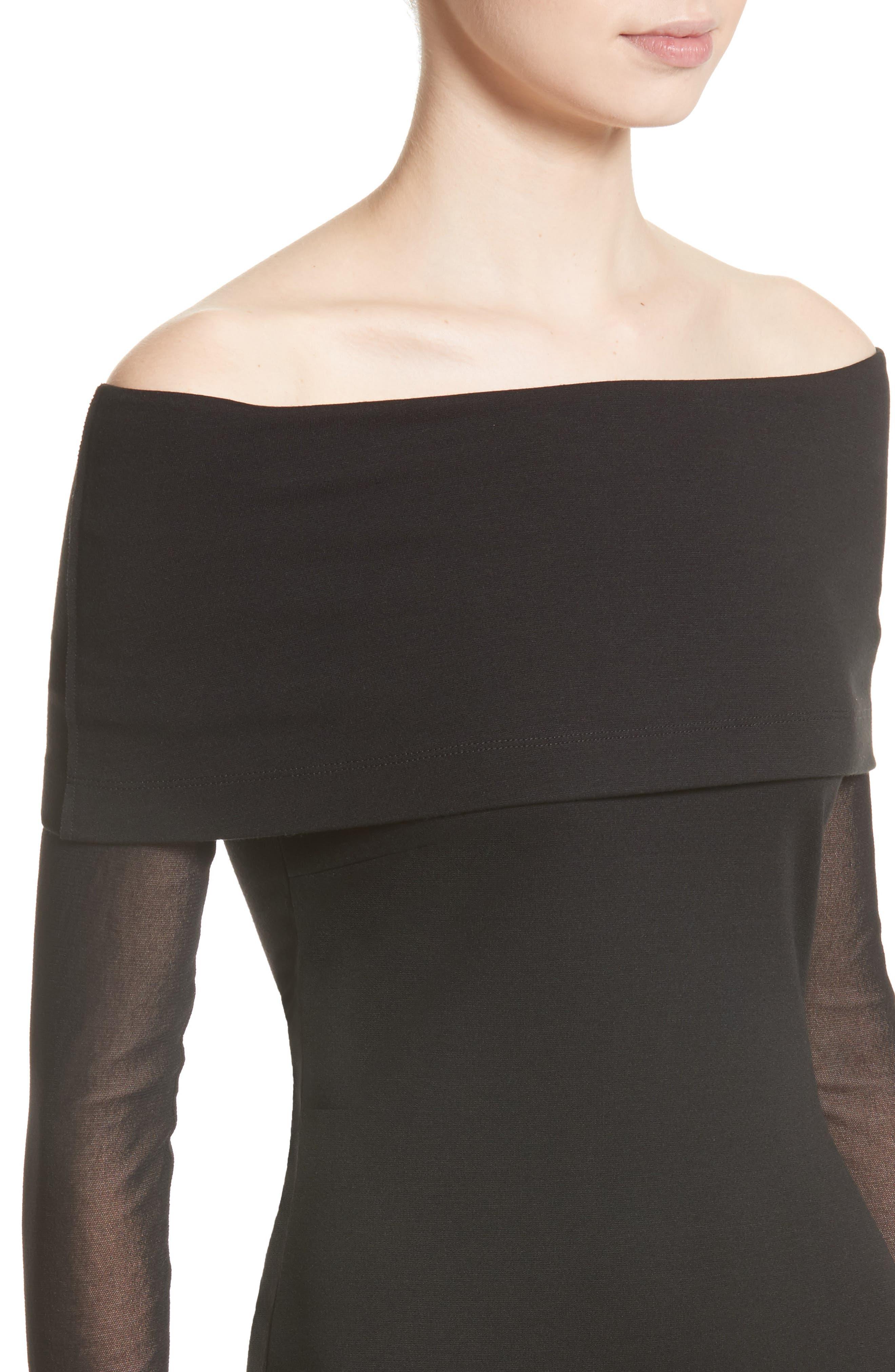 Tulle Off the Shoulder Midi Dress,                             Alternate thumbnail 4, color,                             001