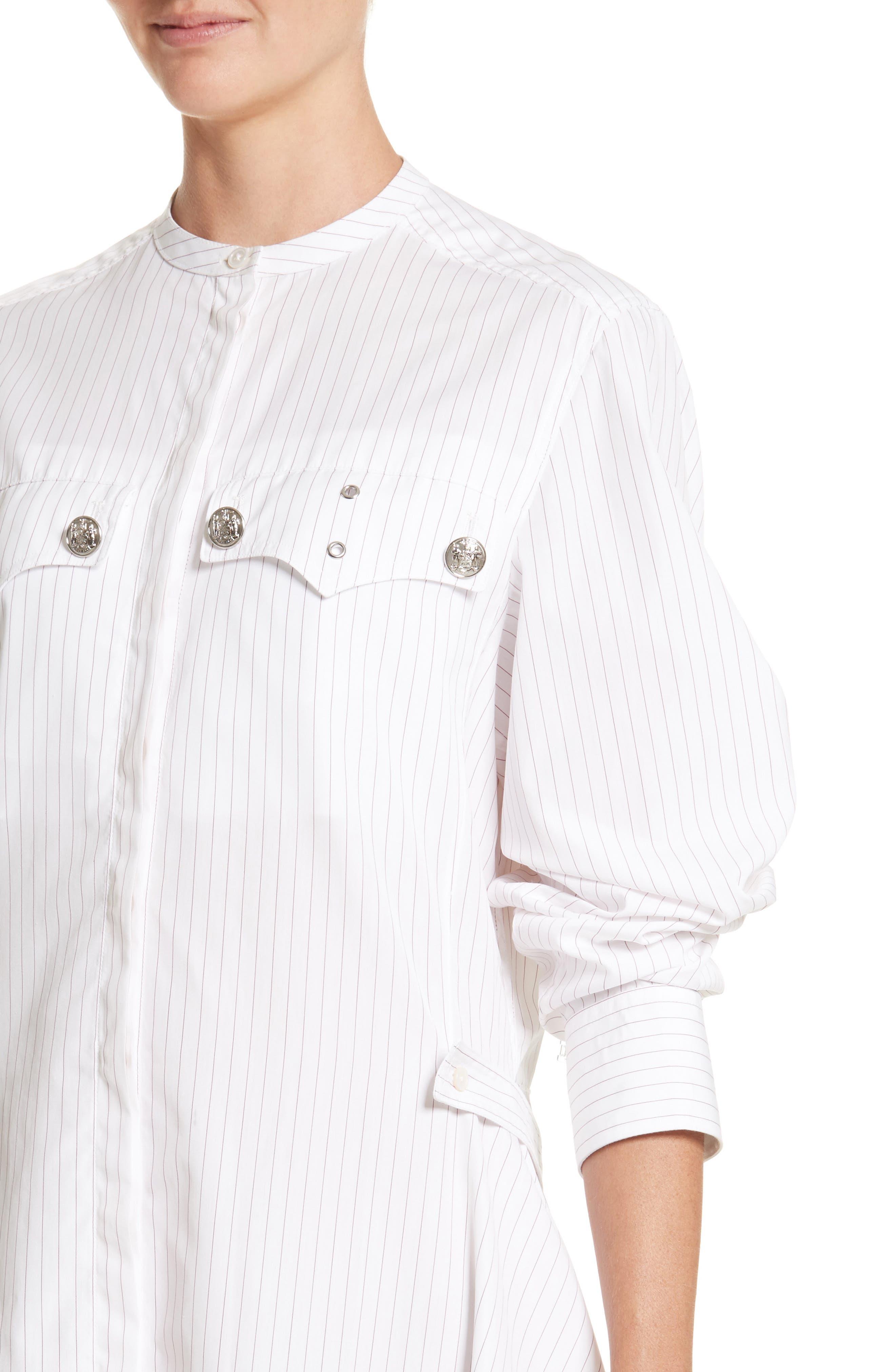 Pinstripe Cotton Poplin Dress,                             Alternate thumbnail 4, color,                             100